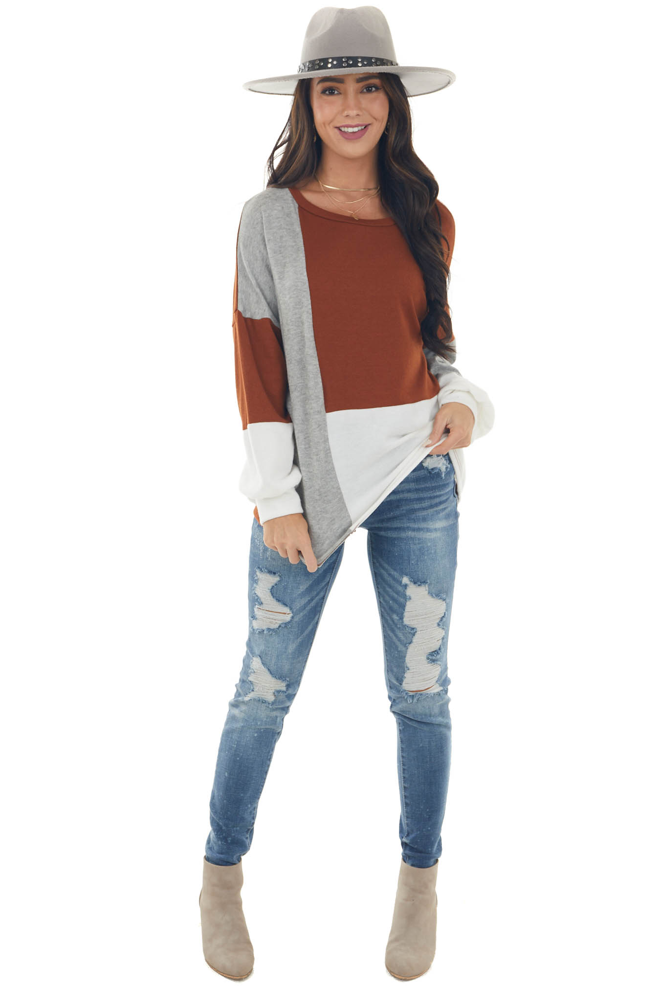 Spice Colorblock Long Sleeve Soft Knit Top
