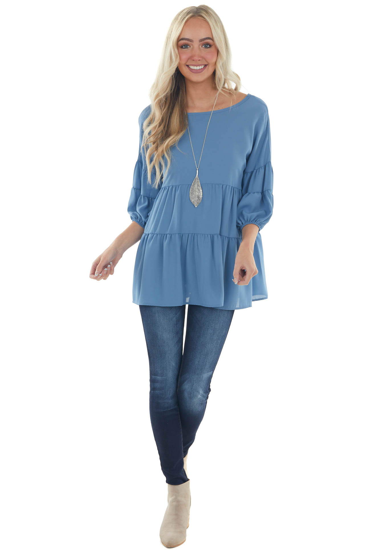 Steel Blue Tiered Puff Sleeve Tiered Woven Top