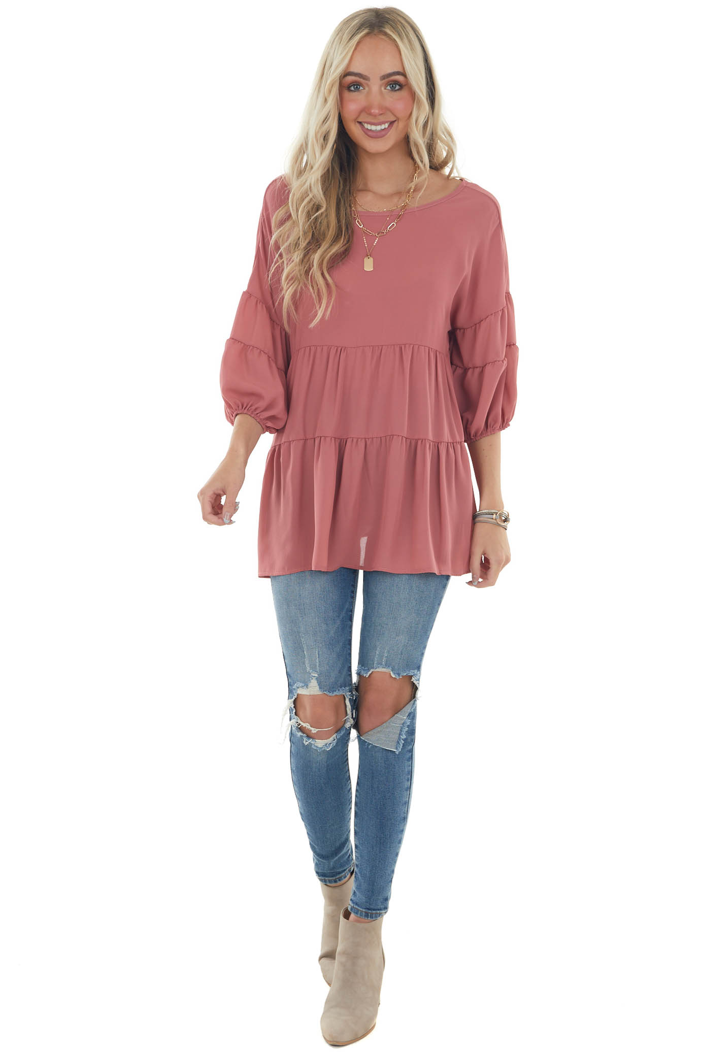 Punch Pink Tiered Puff Sleeve Tiered Woven Top