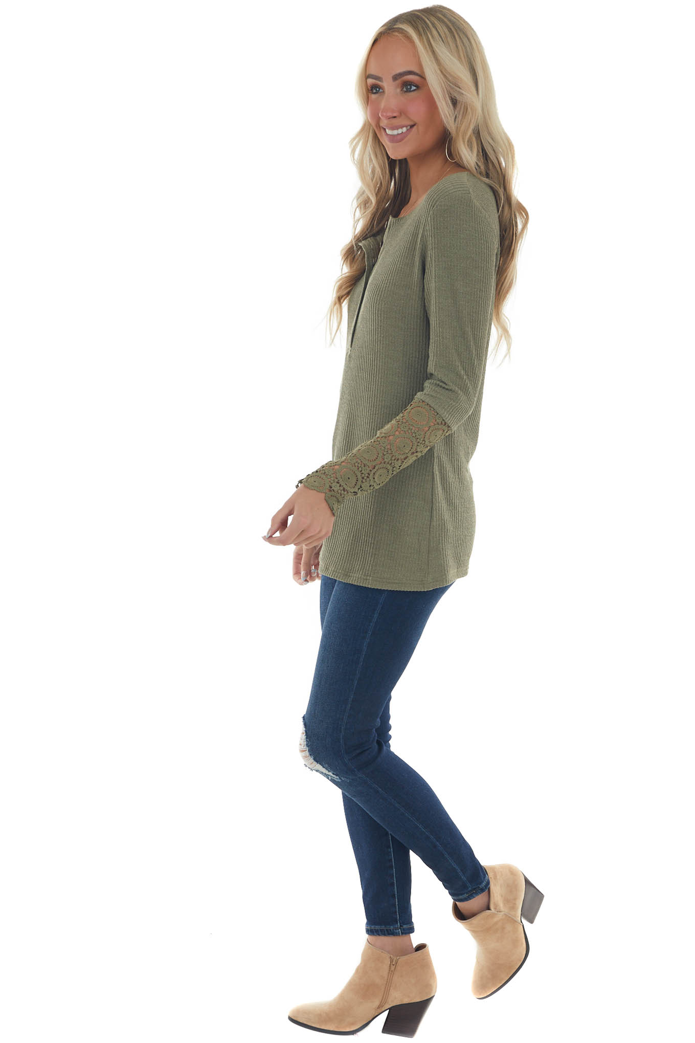 Olive Long Lace Sleeve Ribbed Henley Top