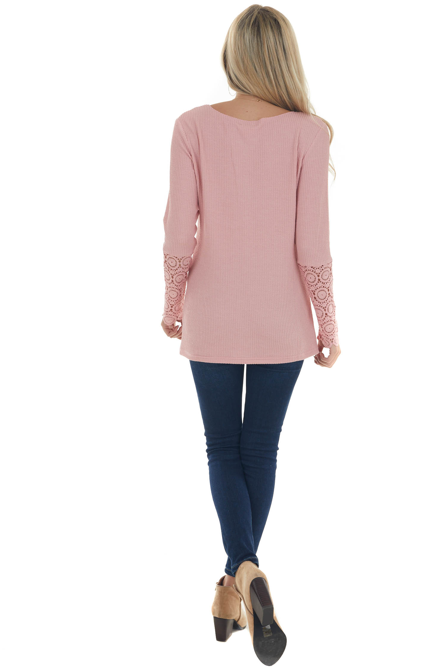 Bubblegum Long Lace Sleeve Ribbed Henley Top