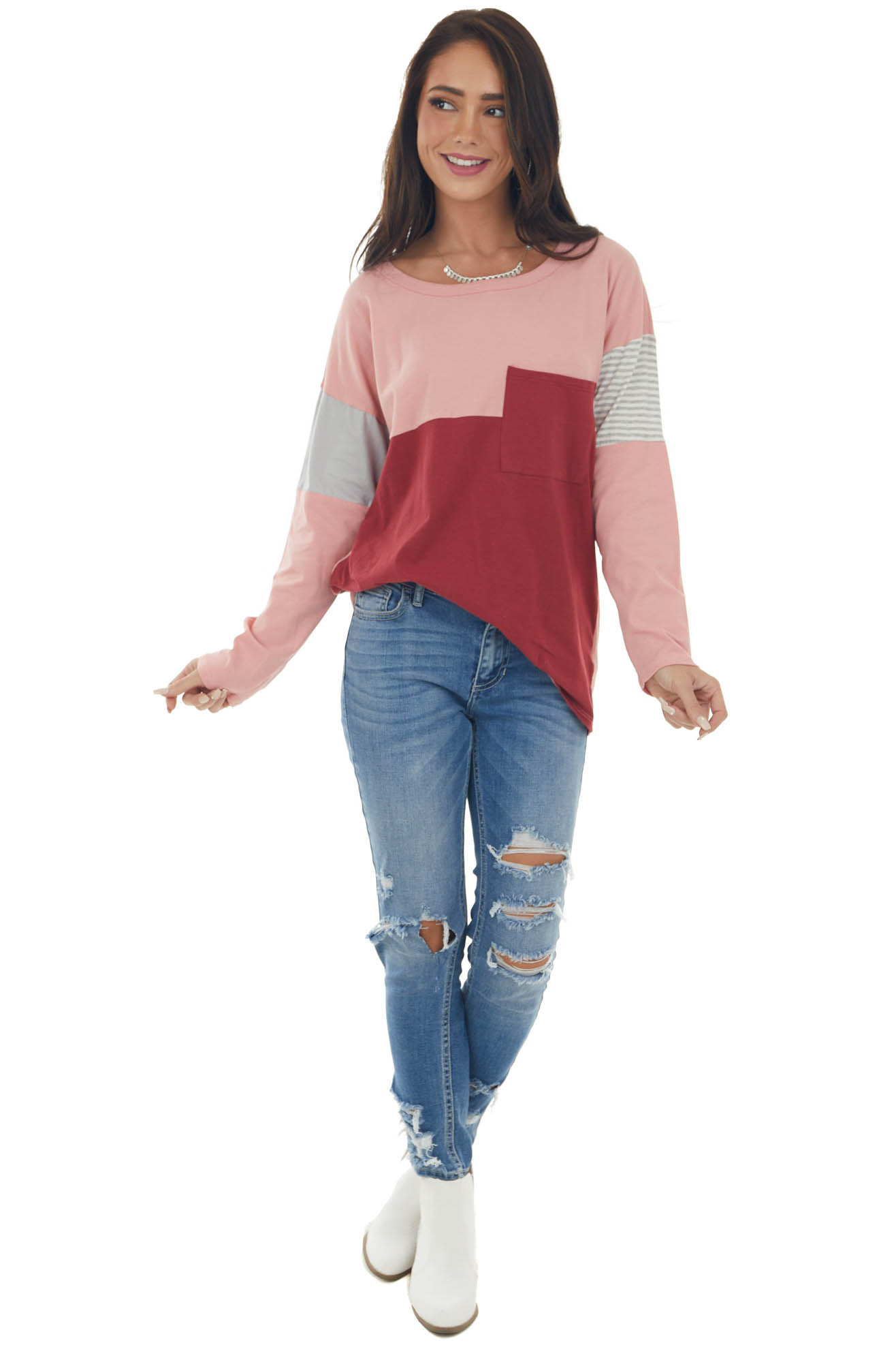 Rust Colorblock Knit Top with Chest Pocket