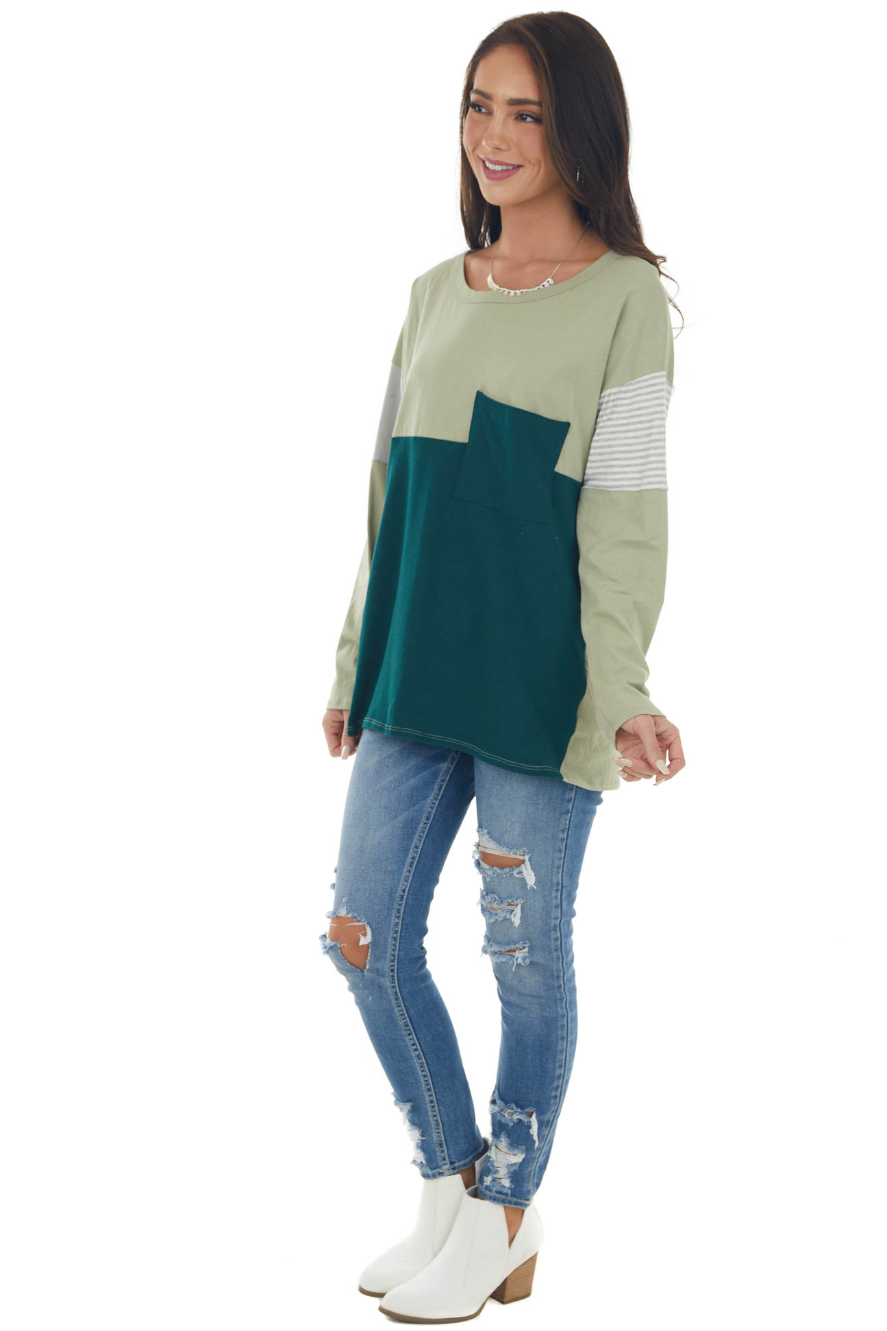 Green Colorblock Knit Top with Chest Pocket