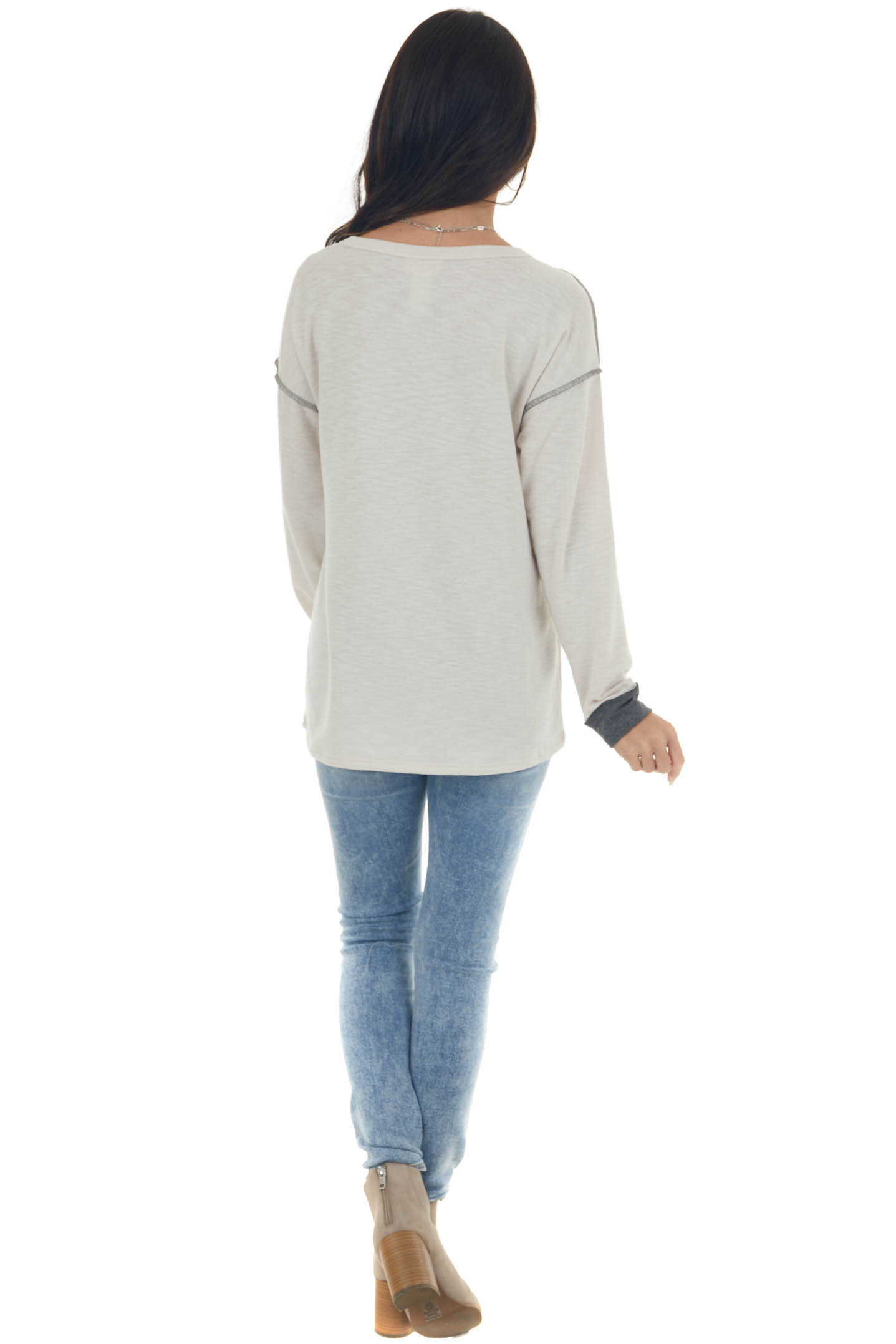 Charcoal and Cream Button Detailed Knit Top