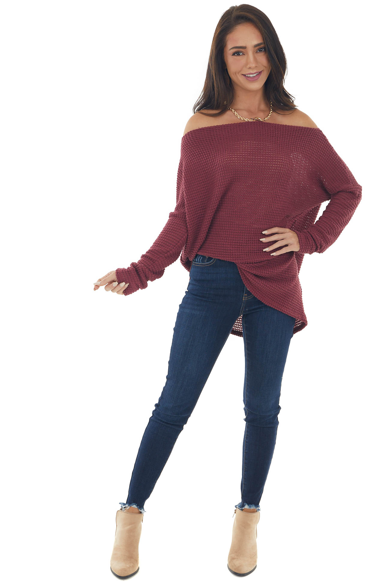 Berry Off Shoulder Long Sleeve Waffle Top