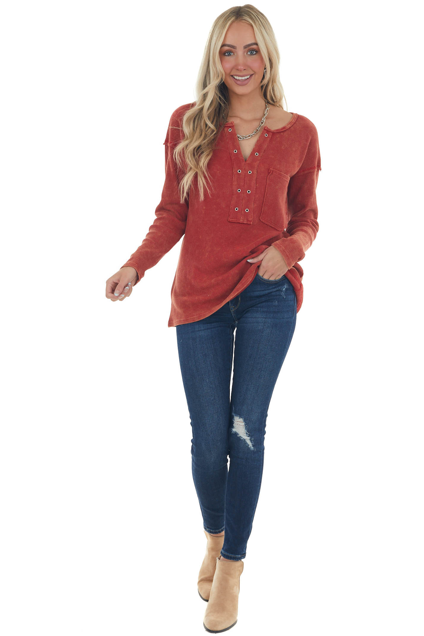 Brick Washed Thermal Knit Chest Pocket Top