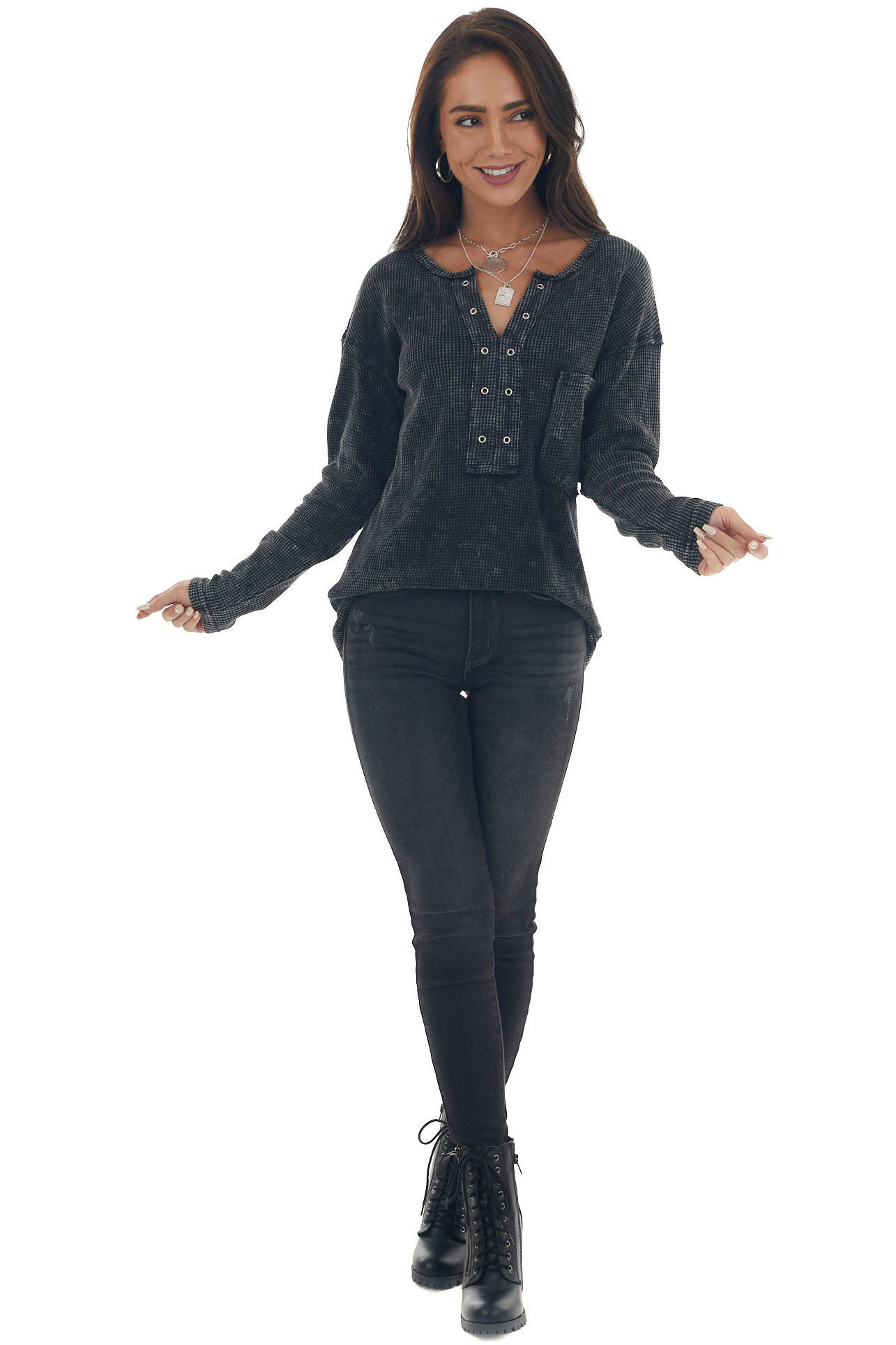 Charcoal Washed Thermal Knit Chest Pocket Top
