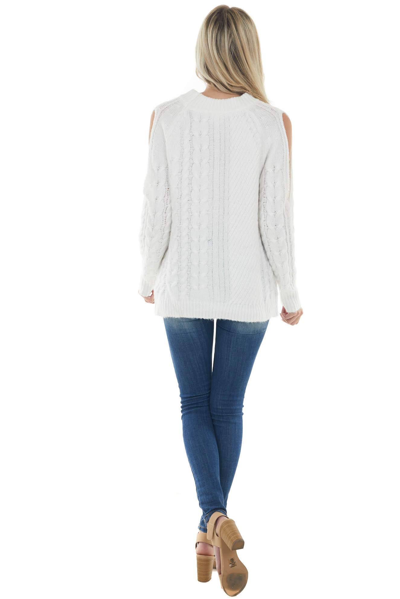 Ivory Twisted Knit Shoulder Cut Out Sweater