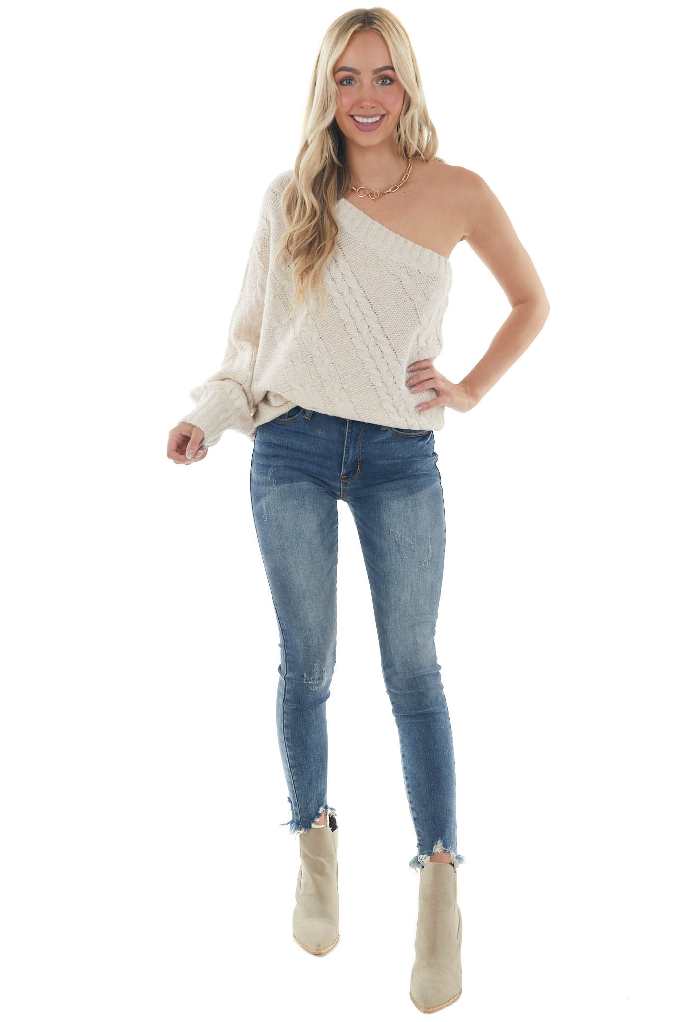 Desert Sand One Shoulder Cable Knit Sweater