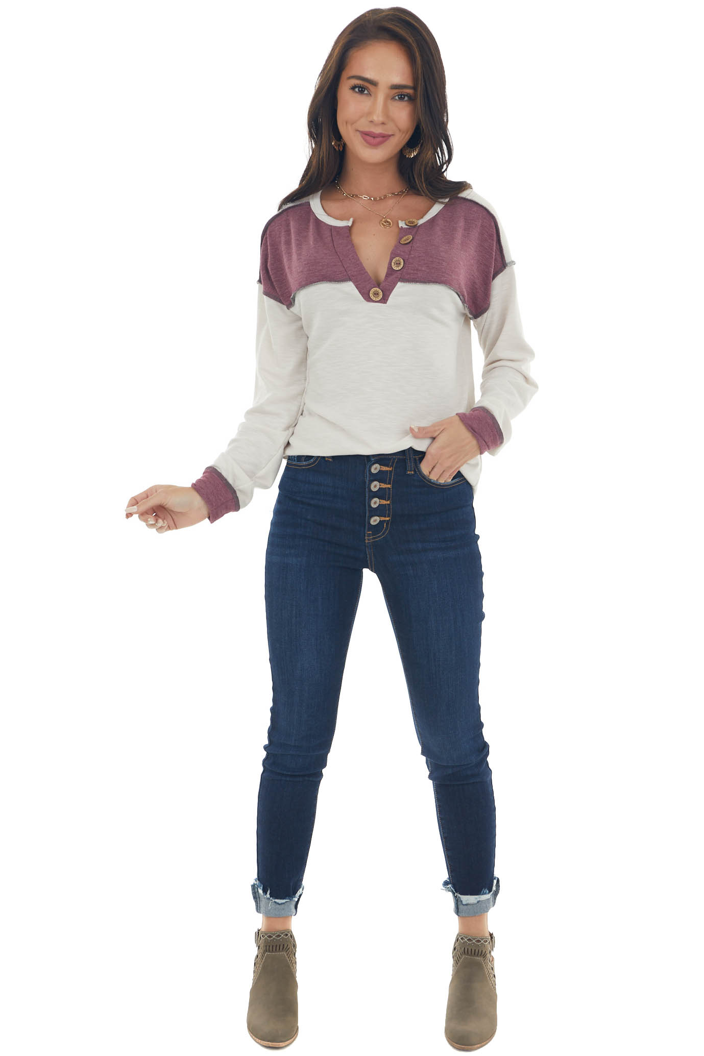 Boysenberry and Cream Button Detailed Knit Top