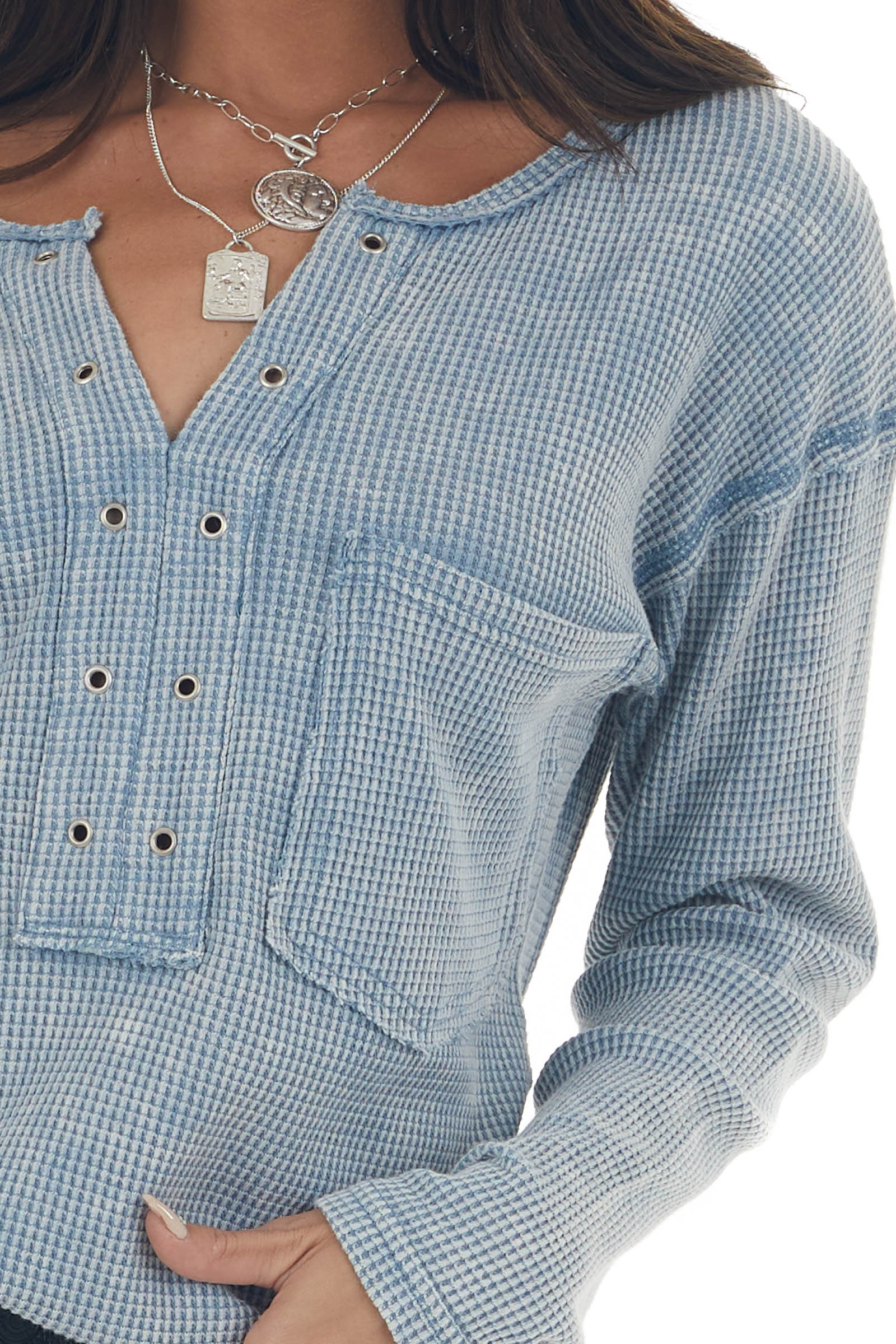 Baby Blue Washed Thermal Knit Chest Pocket Top