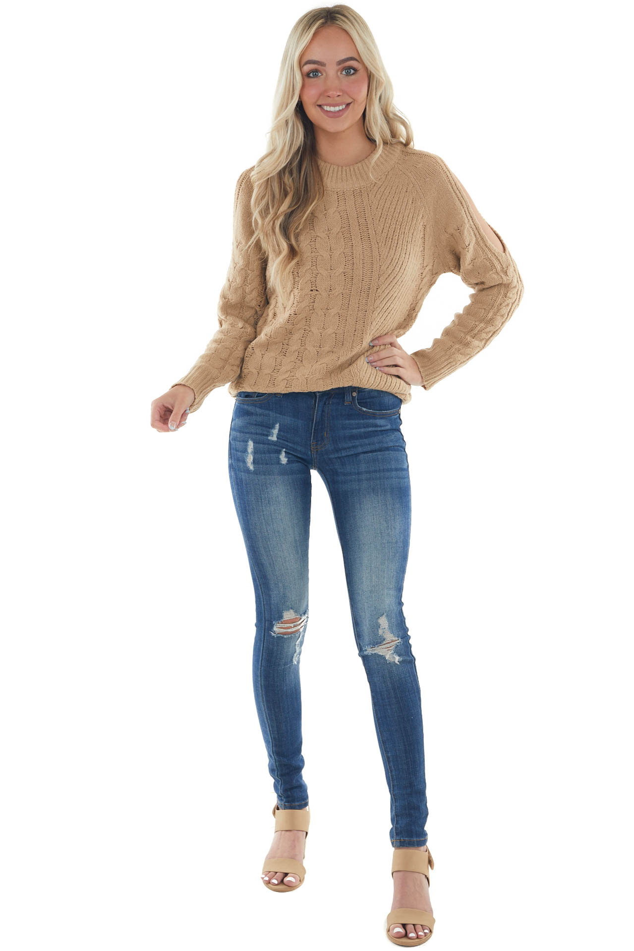 Camel Twisted Knit Shoulder Cut Out Sweater
