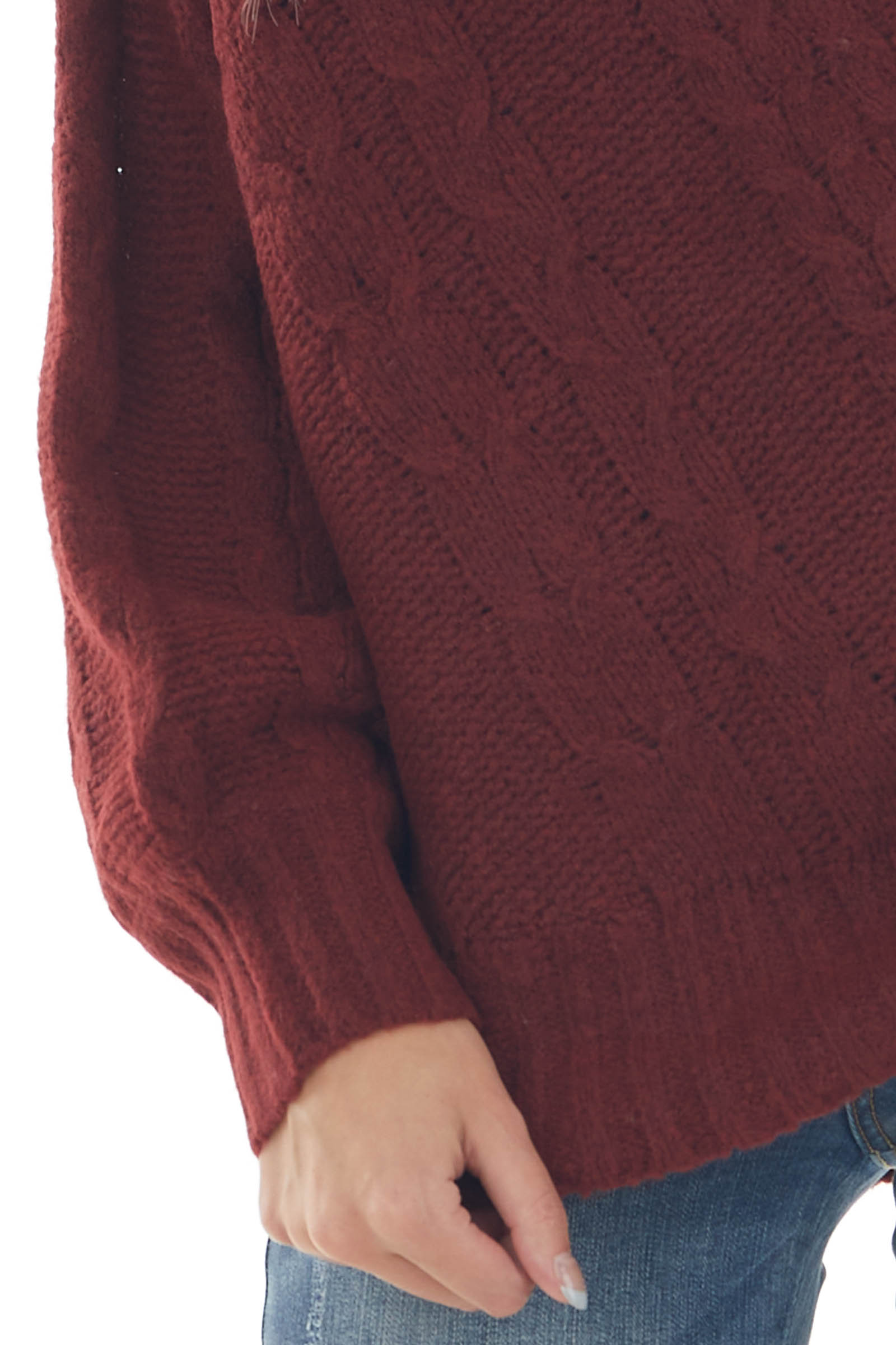 Sangria Red One Shoulder Cable Knit Sweater