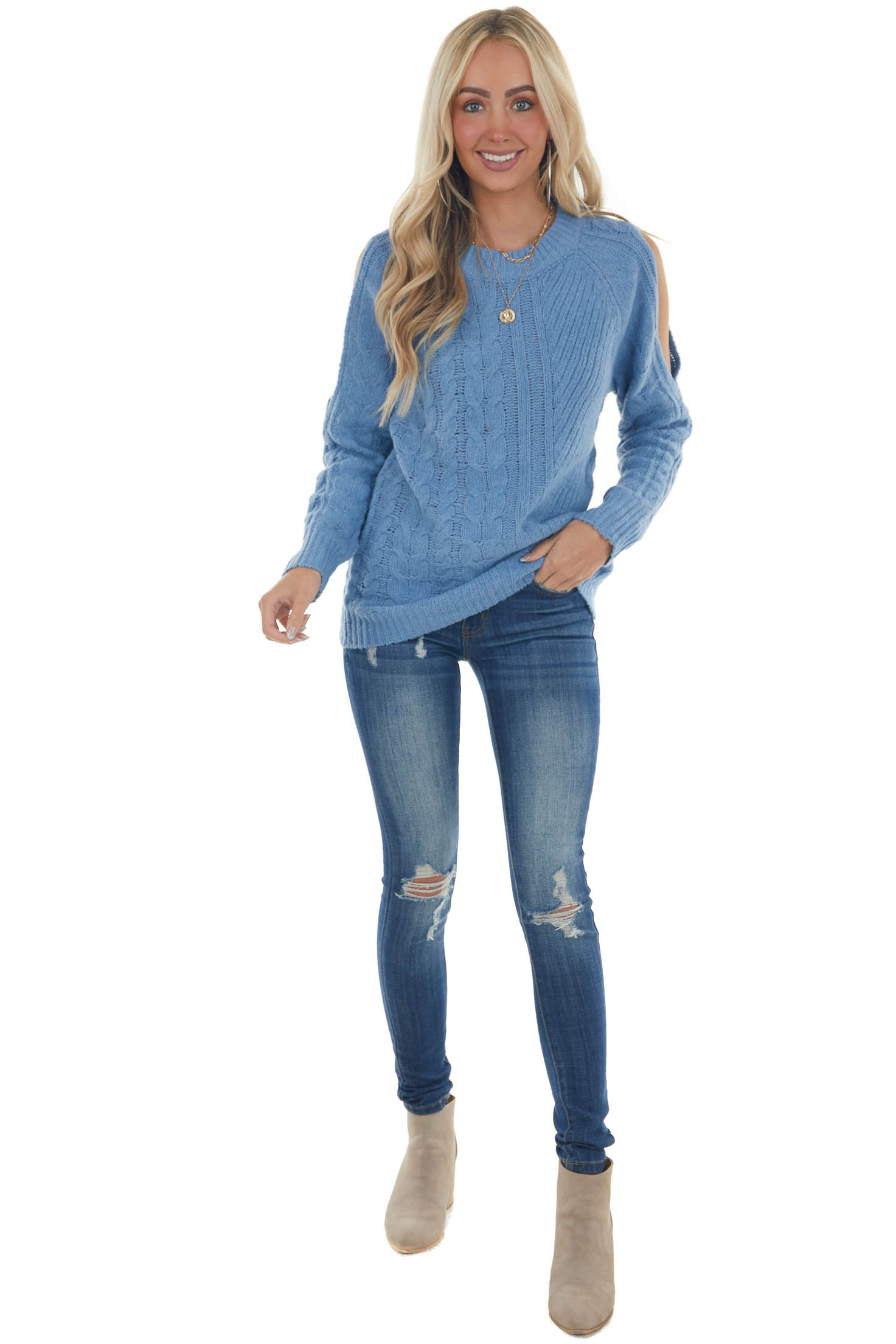 Blue Twisted Knit Shoulder Cut Out Sweater