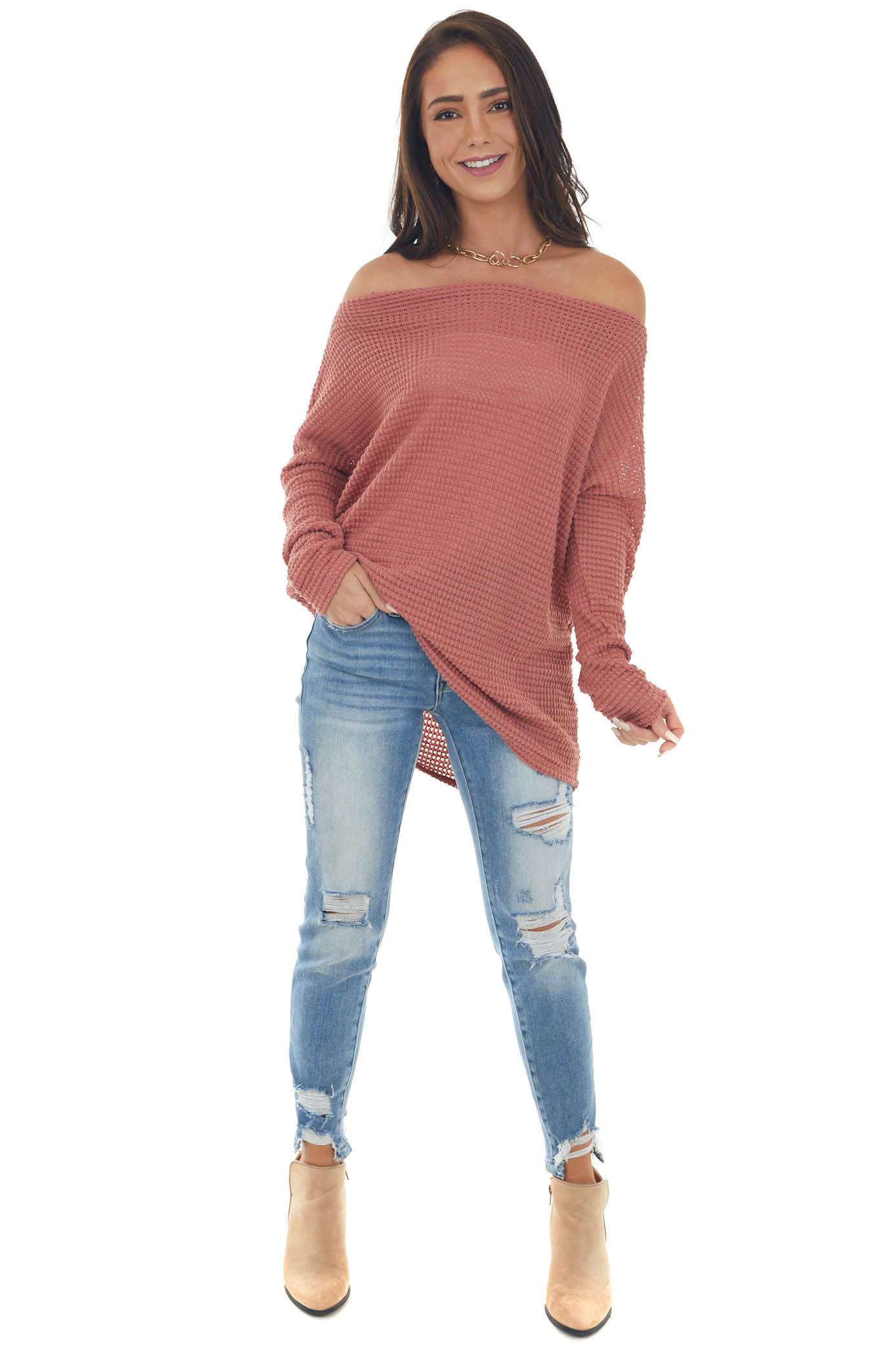 Coral Off Shoulder Long Sleeve Waffle Top