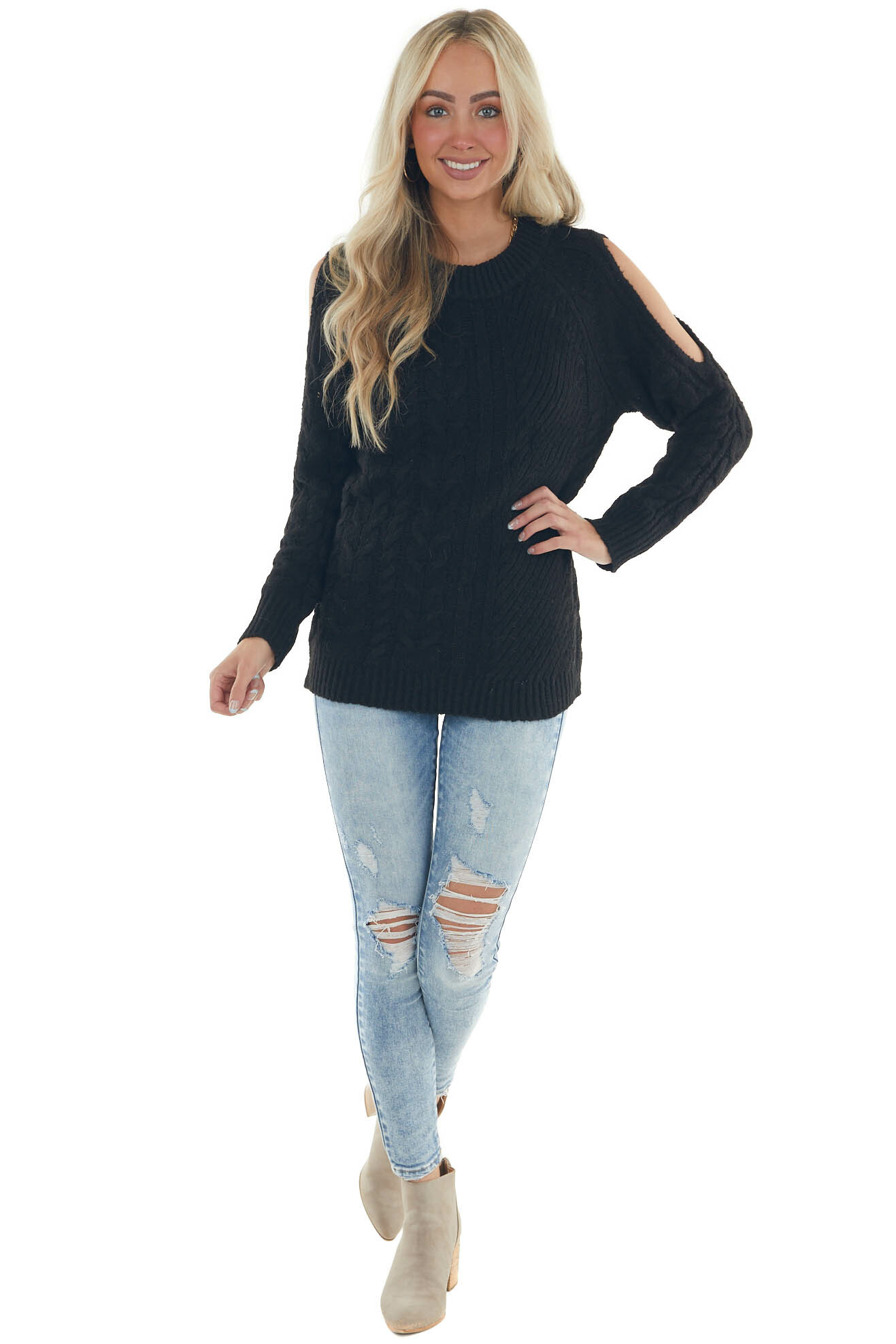 Black Twisted Knit Shoulder Cut Out Sweater