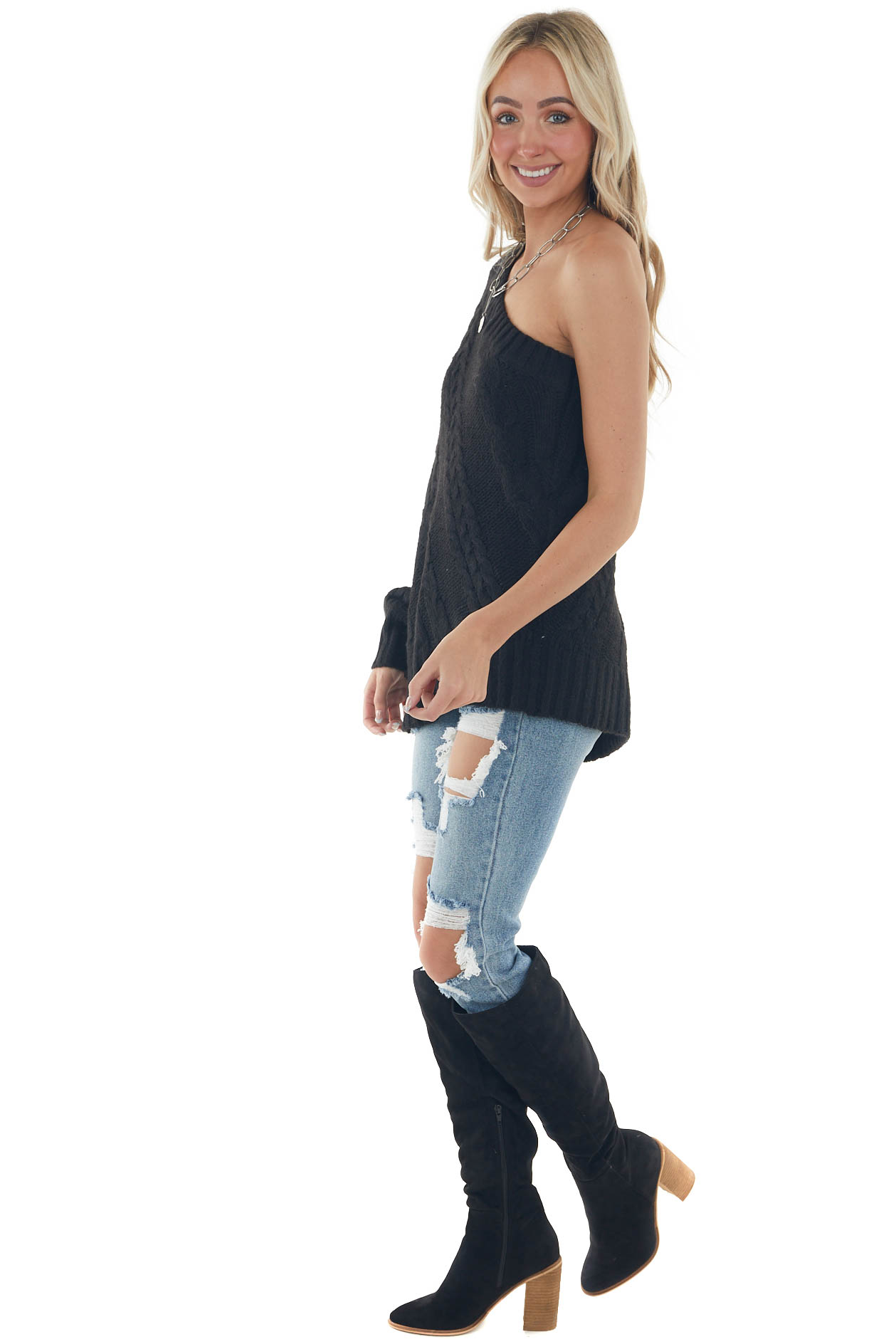 Black One Shoulder Cable Knit Sweater