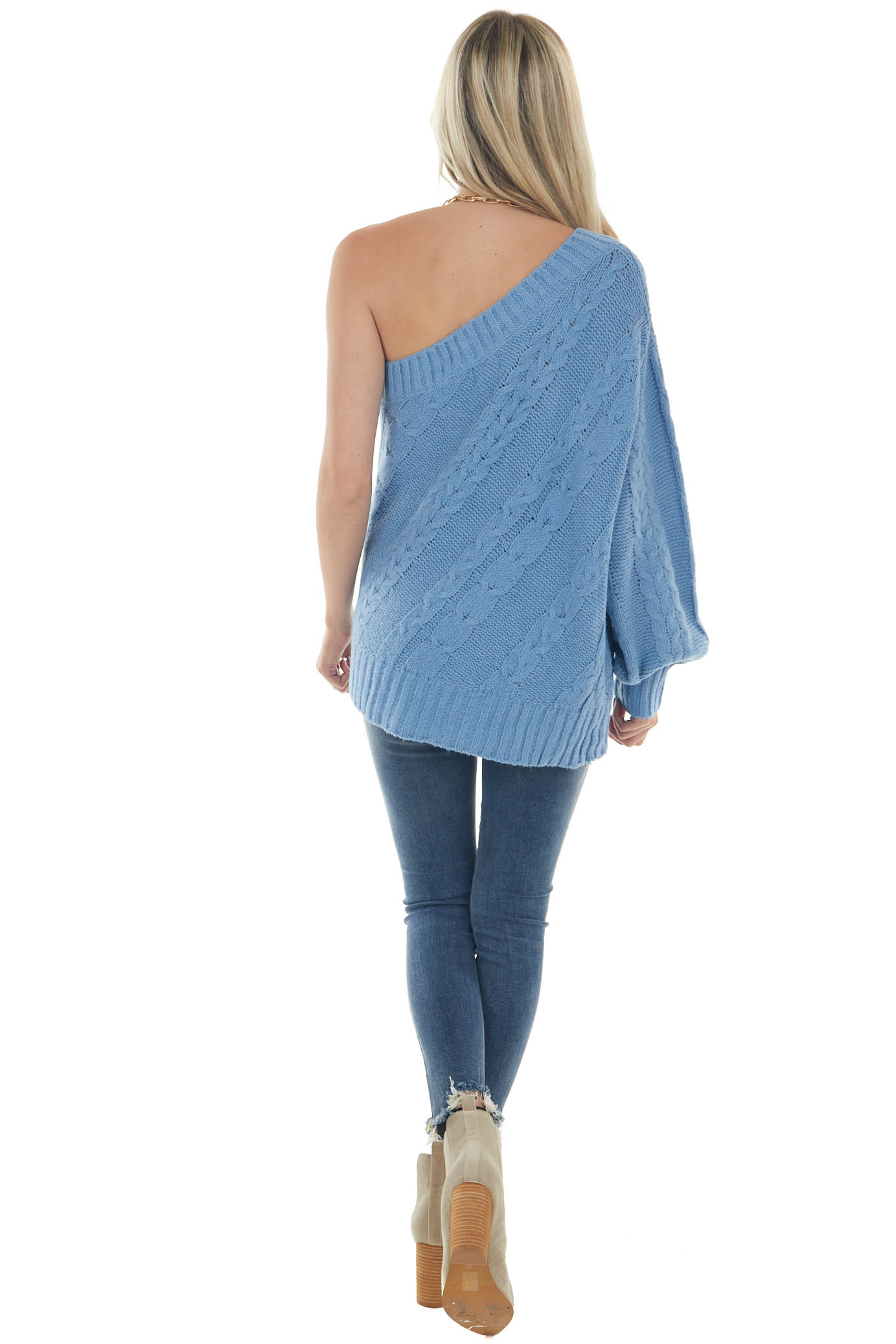 Cornflower One Shoulder Cable Knit Sweater