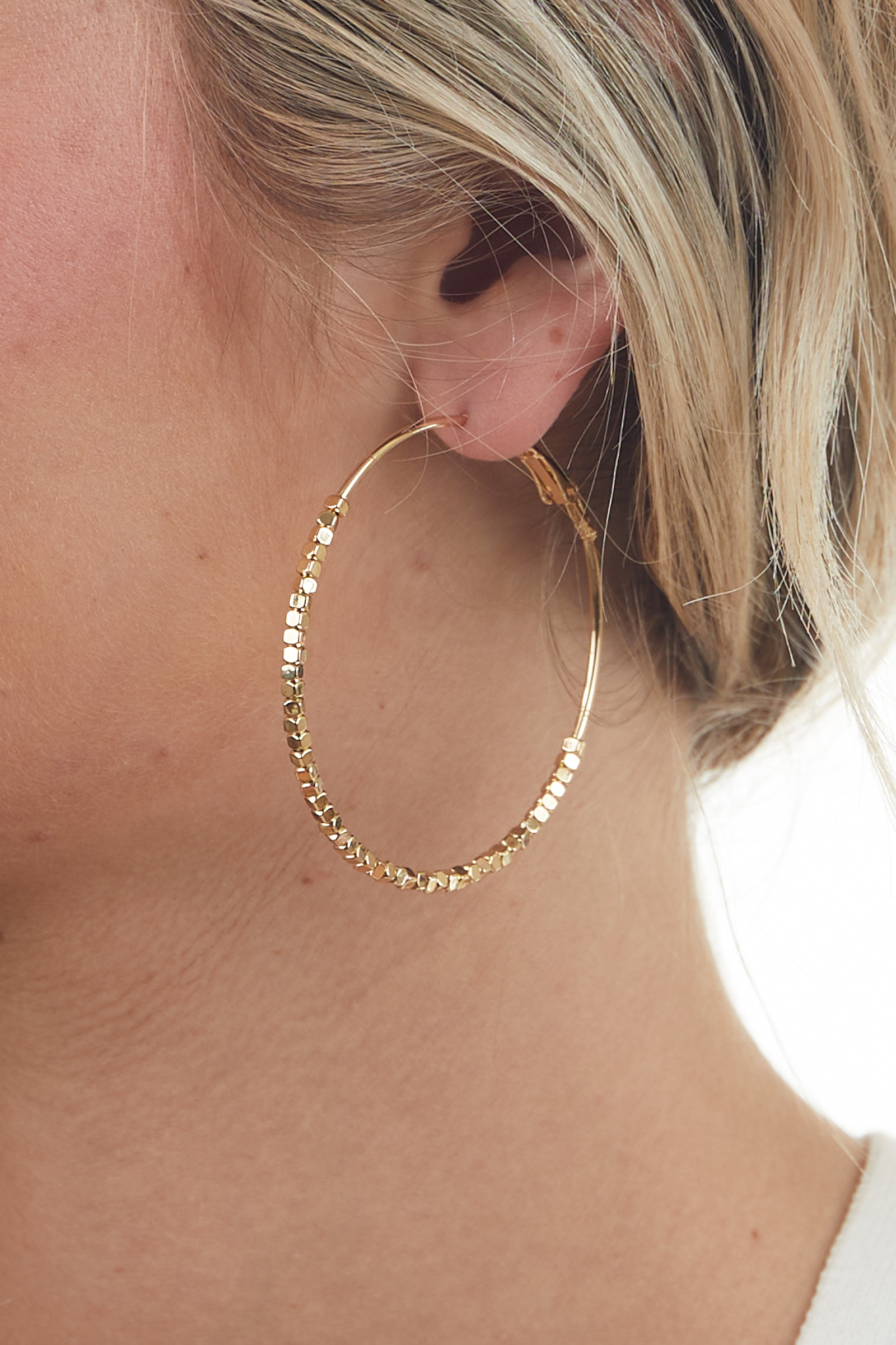 Gold Square Textured Hoop Earring
