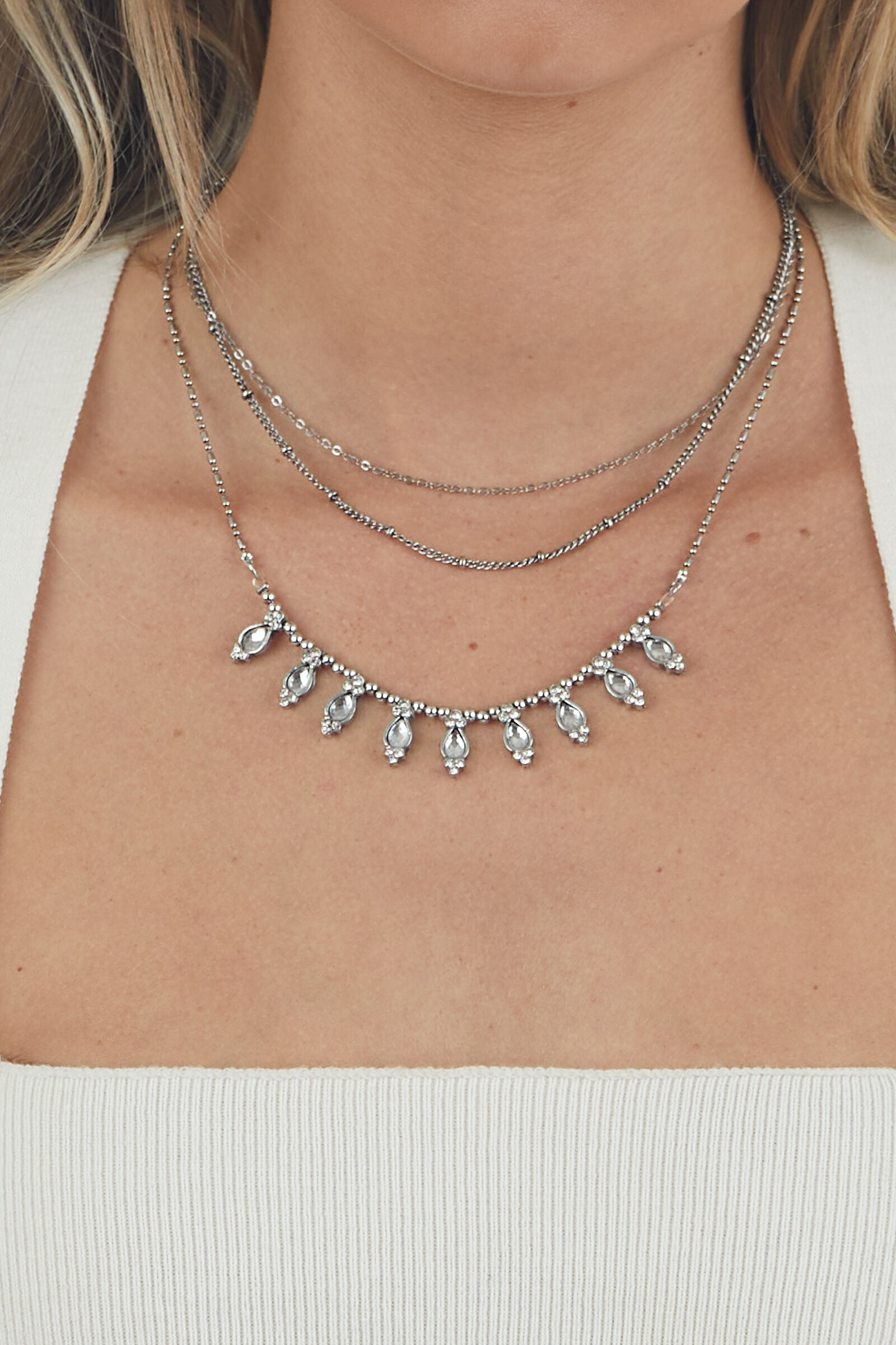 Silver Layered Necklace with Teardrop Charms