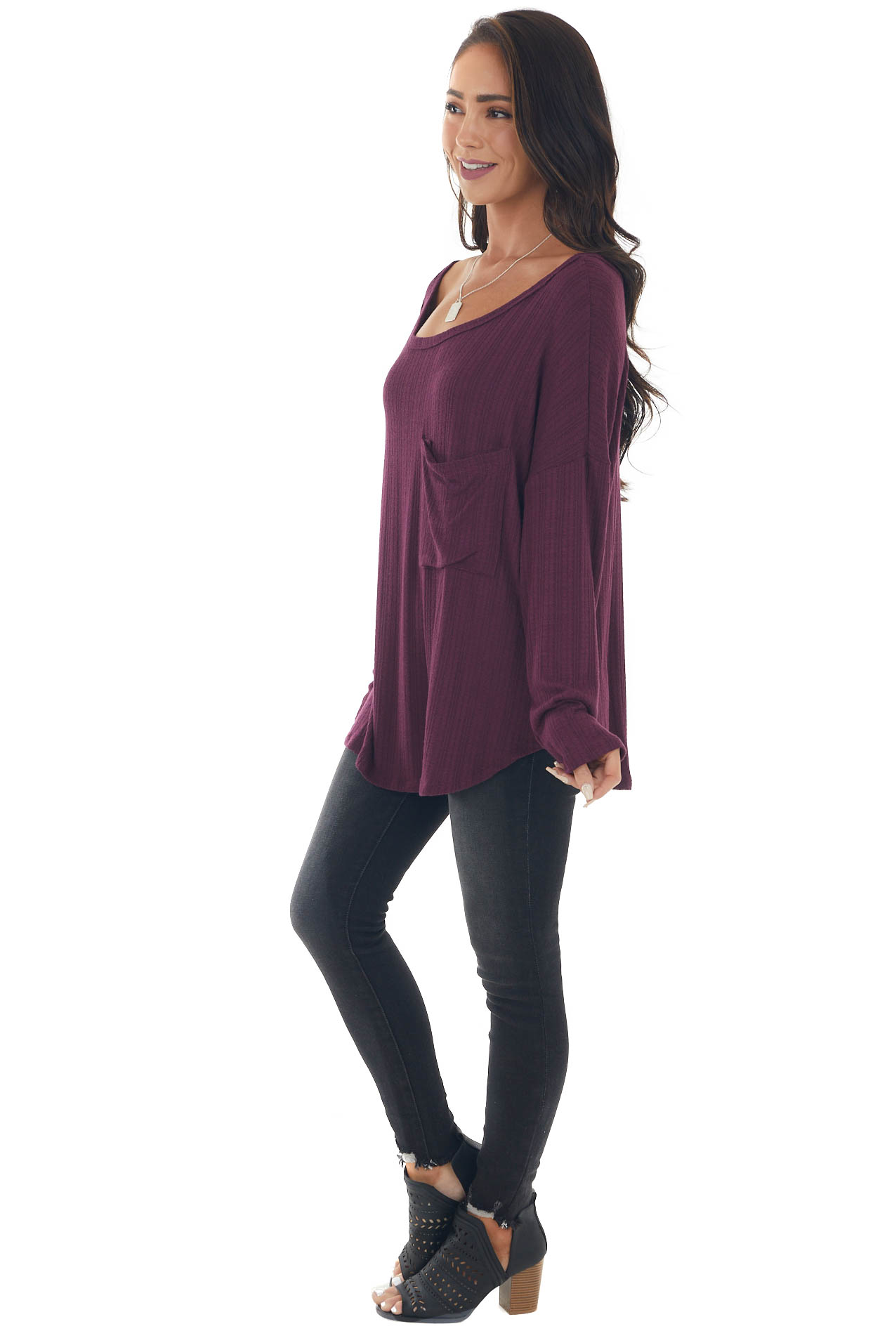 Plum Textured Knit Top with Chest Pocket