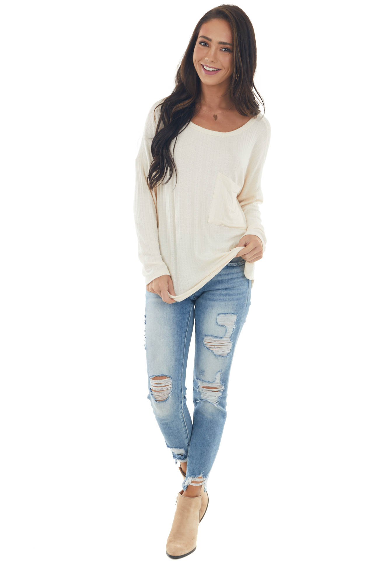 Champagne Textured Knit Top with Chest Pocket