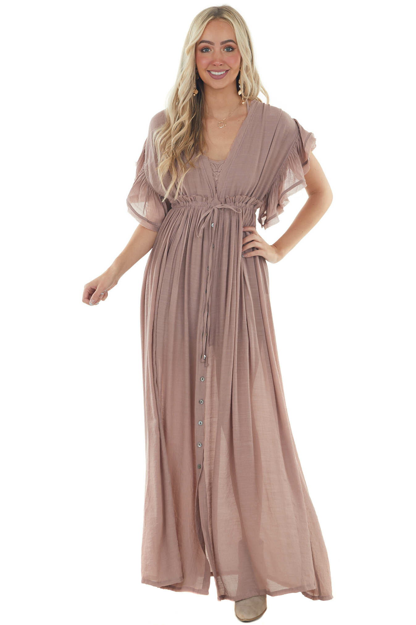 Rose Taupe Button Front Plunging V Neck Dress