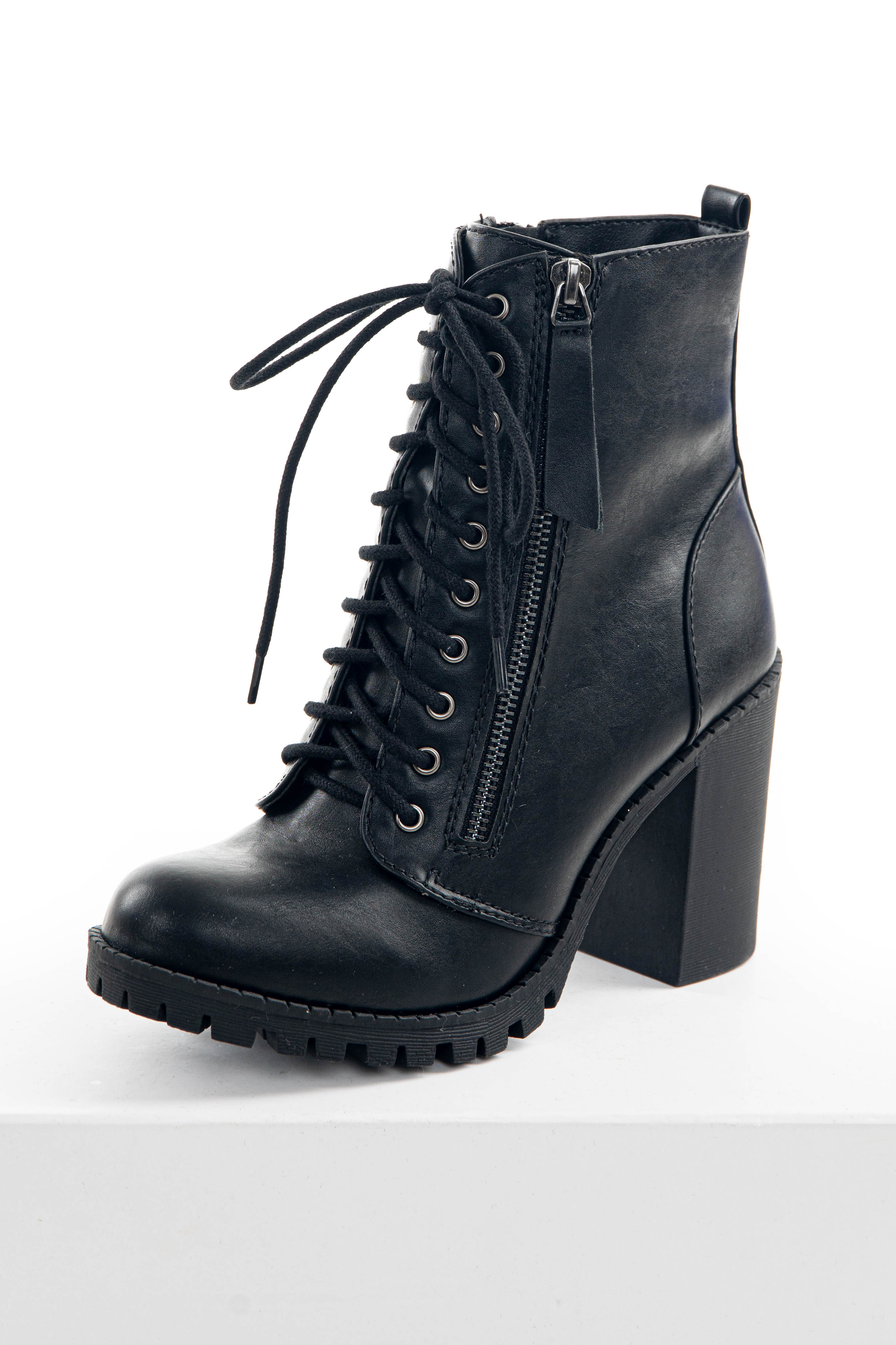 Black Faux Leather Heeled Combat Booties