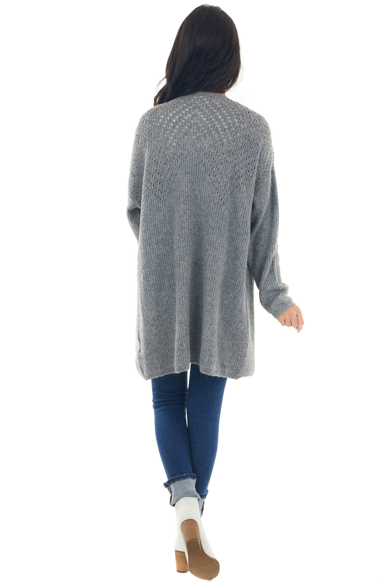 Graphite Pointelle Knit Open Front Cardigan