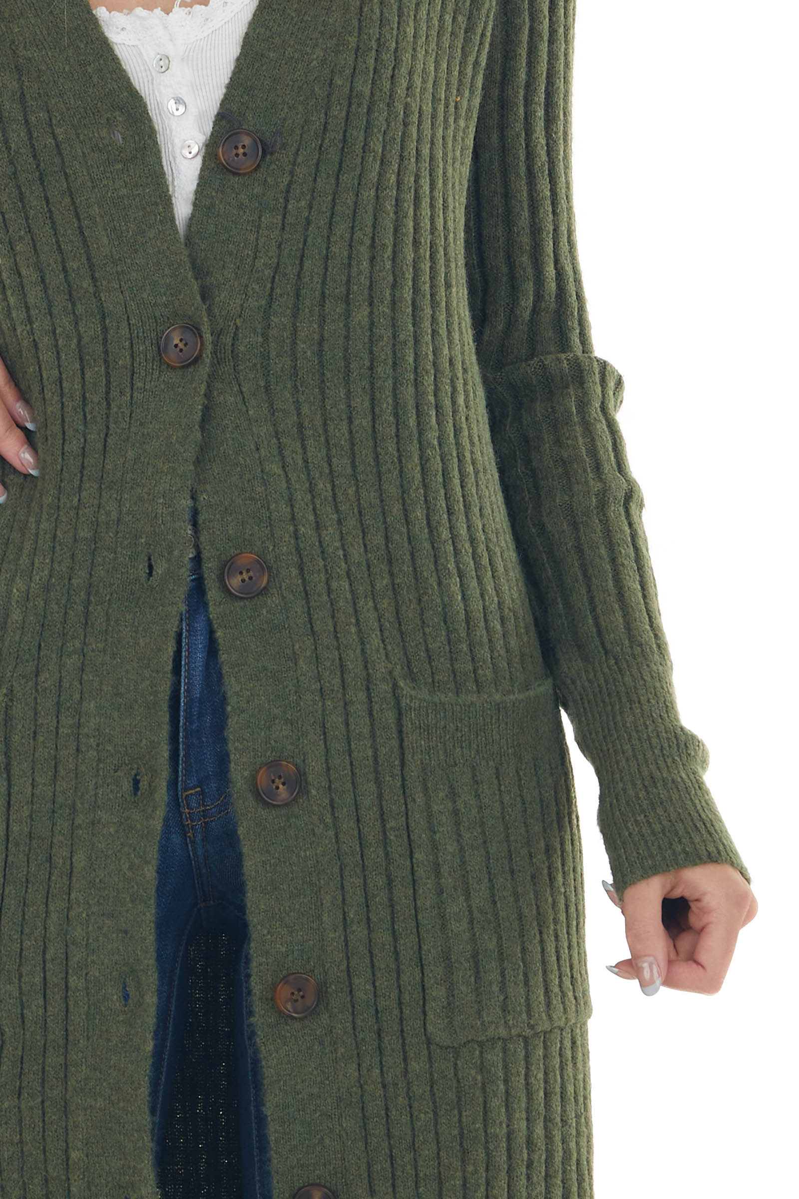 Hunter Green Button Up Knit Duster Cardigan