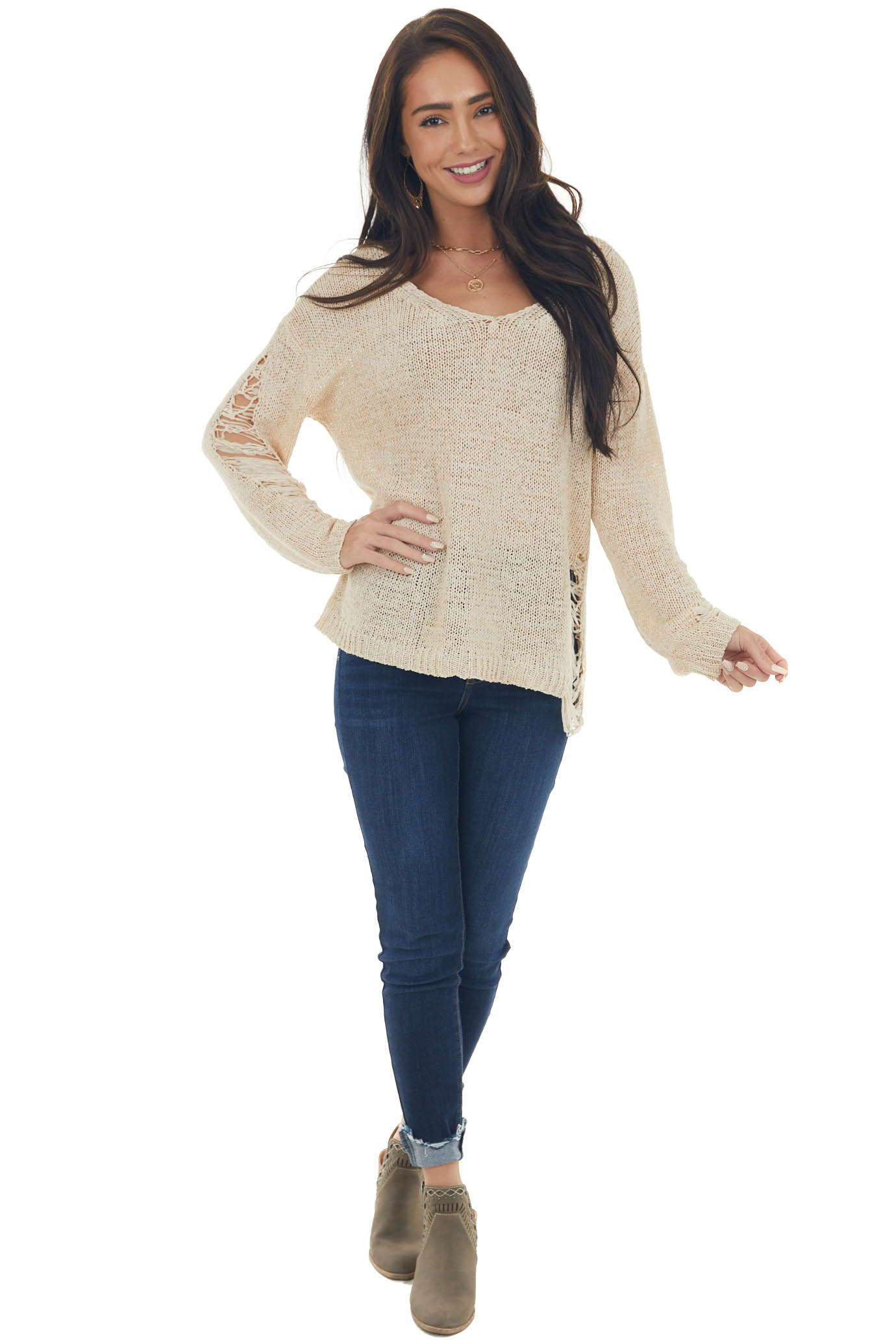 Sand Lightweight Heavily Distressed Sweater