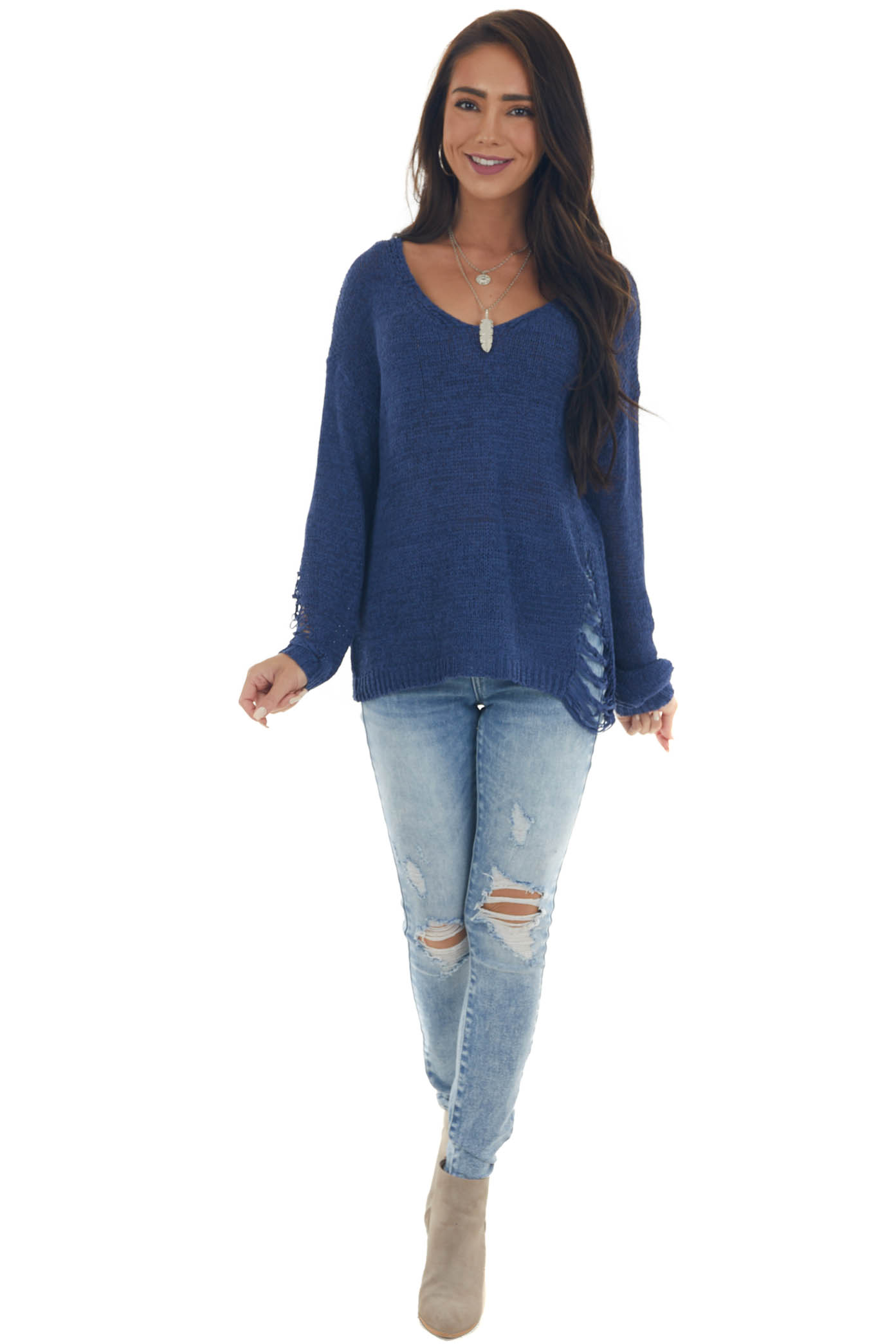 Navy Lightweight Heavily Distressed Sweater