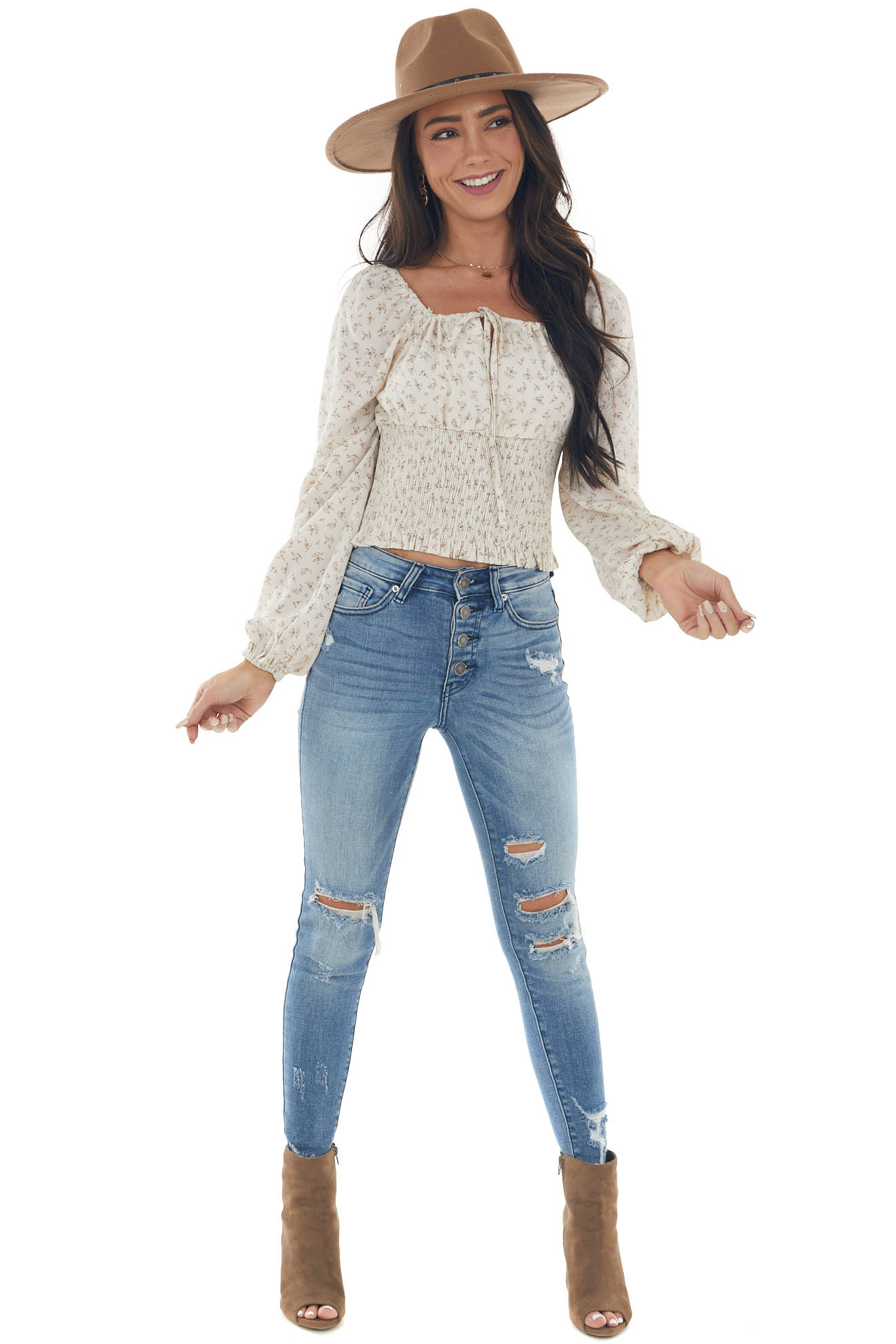 Ivory Floral Smocked Waist Peasant Cropped Top
