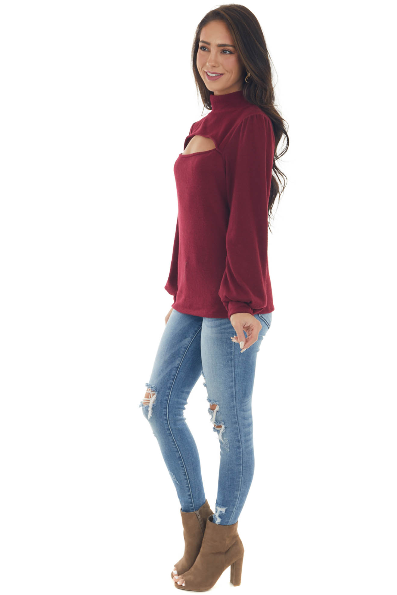 Burgundy Chest Cut Out Puff Sleeve Brushed Top