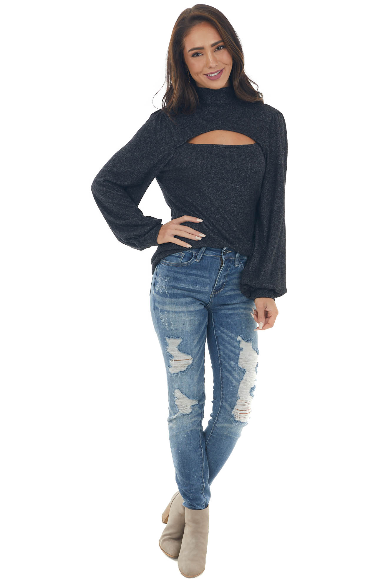 Charcoal Chest Cut Out Puff Sleeve Brushed Top
