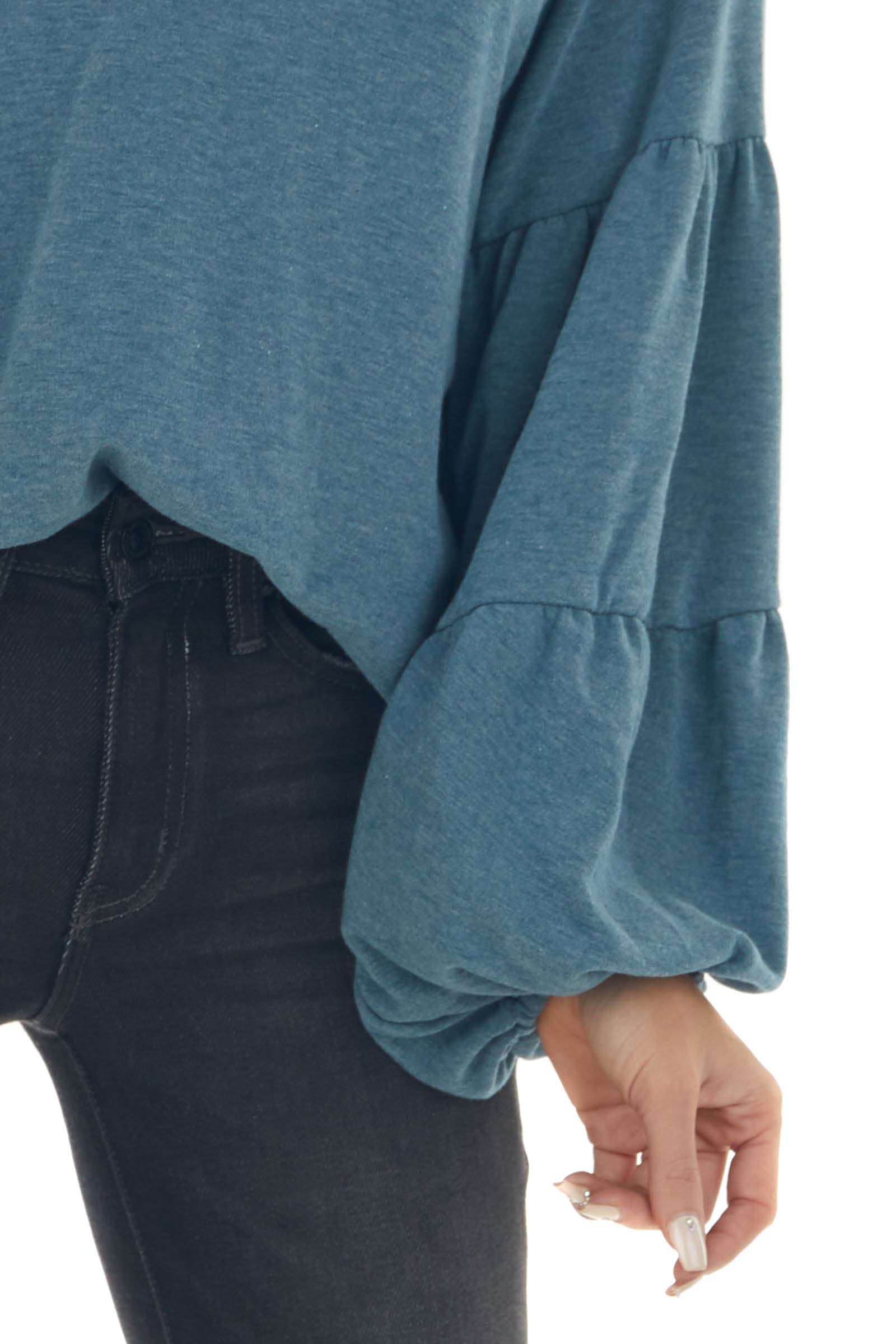 Vintage Teal Tiered Long Puff Sleeve Knit Top