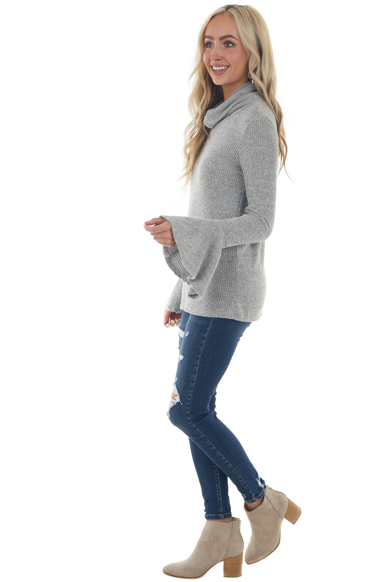 Heather Grey Cowl Neck Flare Sleeve Ribbed Top