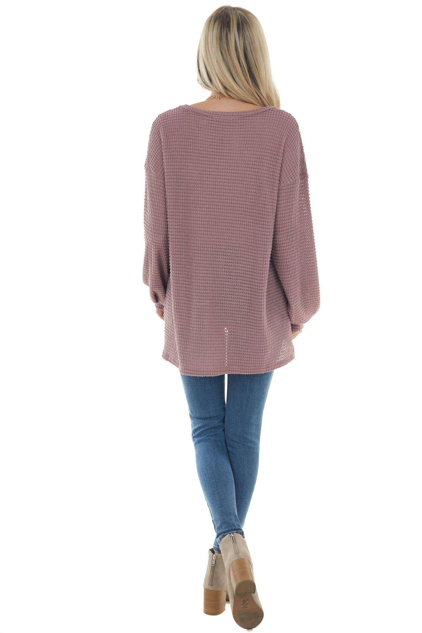 Mauve Waffle Knit Top with Long Bubble Sleeves