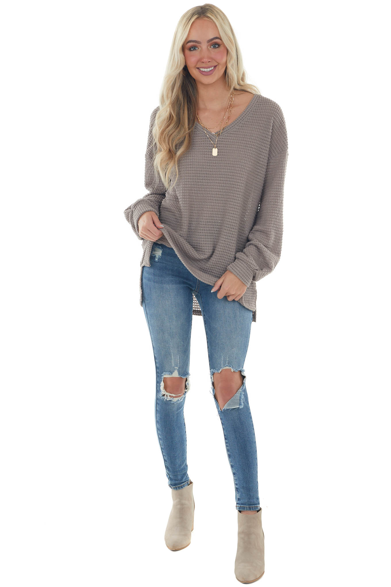Taupe Waffle Knit Top with Long Bubble Sleeves