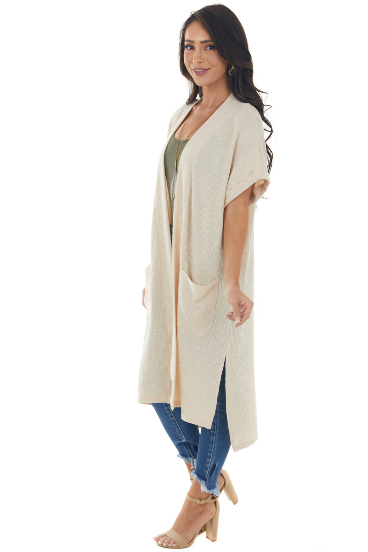 Champagne Short Sleeve Ribbed Knit Cardigan