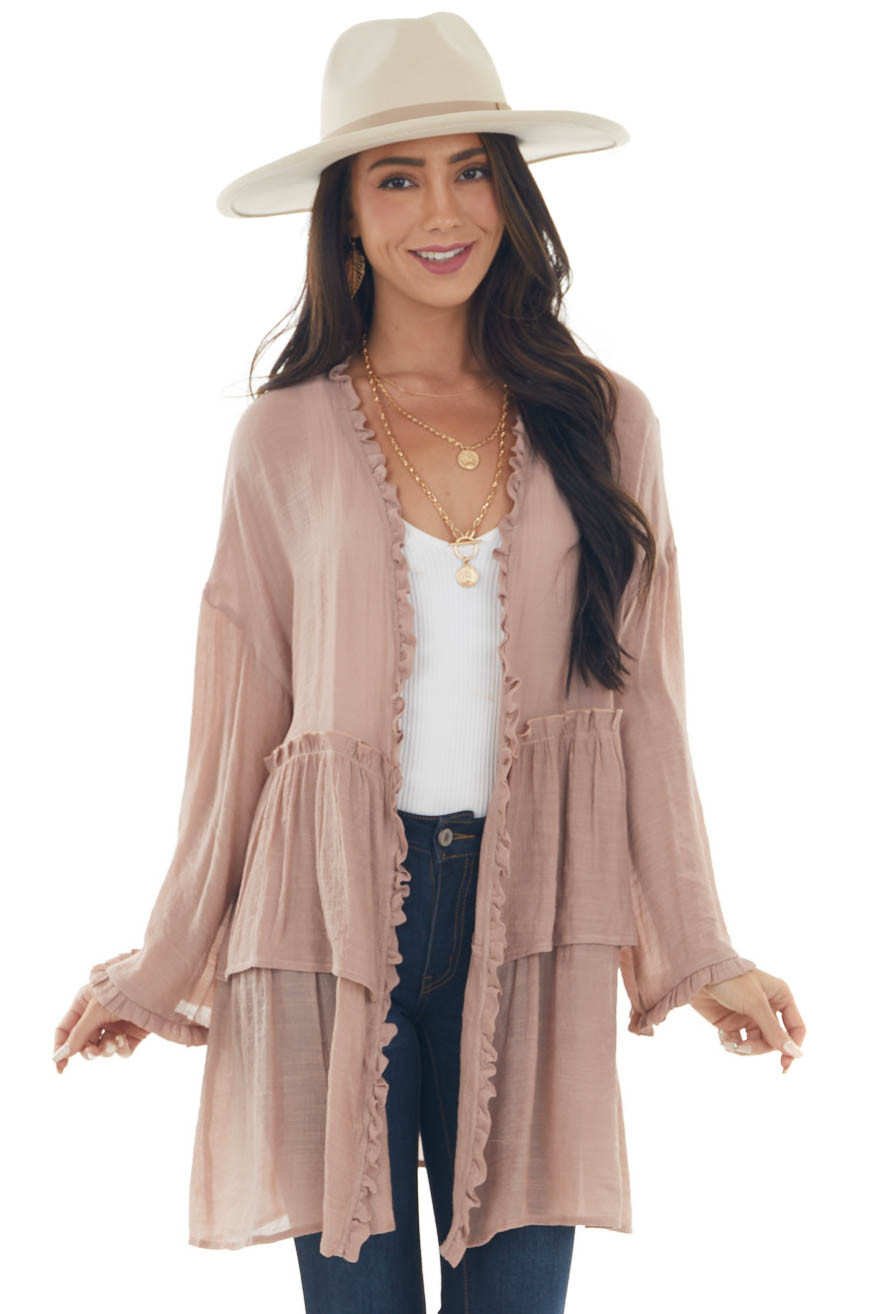 Rose Taupe Long Sleeve Tiered Style Kimono