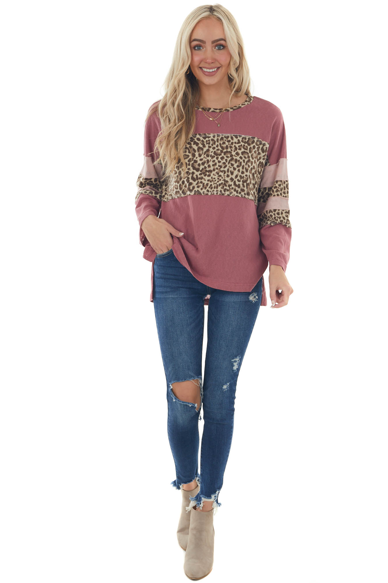 Mulberry Leopard Colorblock Long Sleeve Top