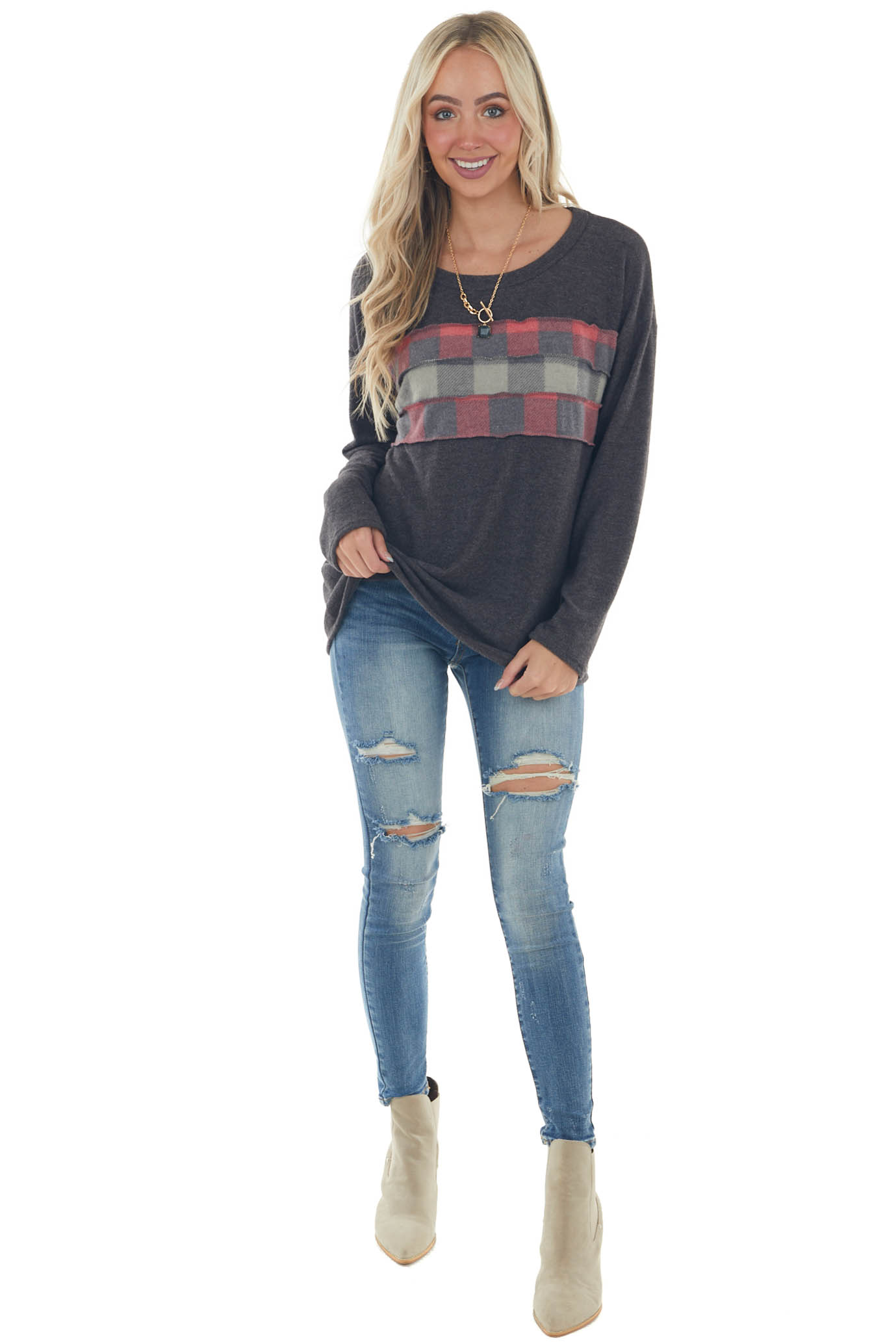 Charcoal Brushed Knit Top with Plaid Contrast