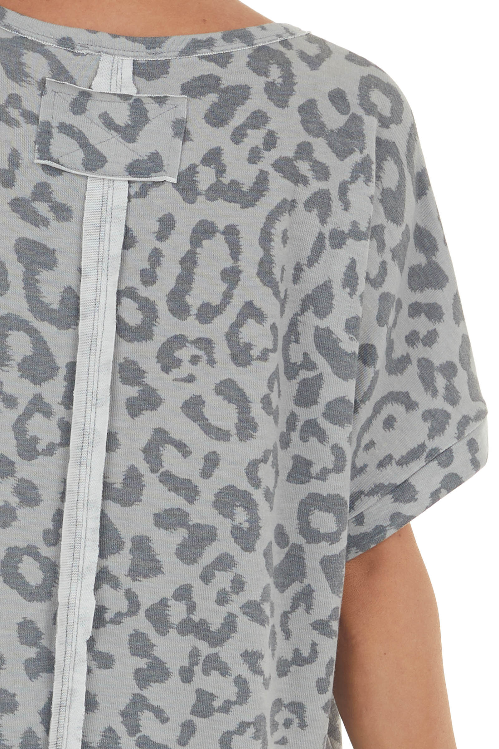 Light Steel Leopard Knit Top with Raw Edges