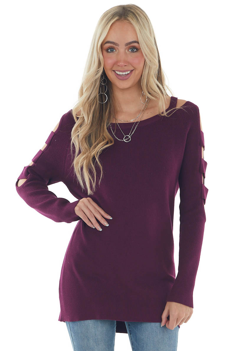 Plum Ribbed Knit Sweater with Cut Out Sleeves