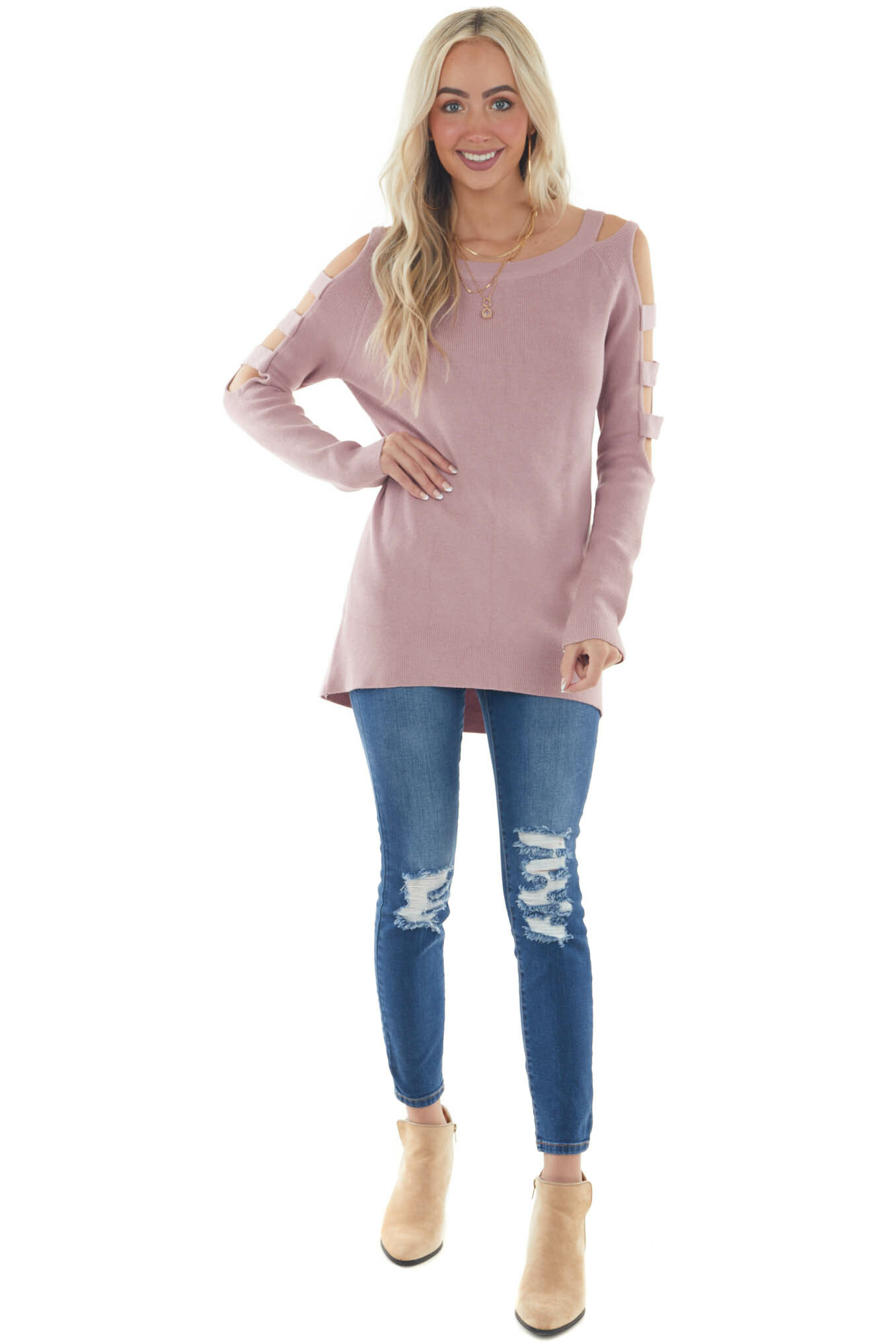 Hazy Pink Ribbed Knit Sweater with Cut Out Sleeves