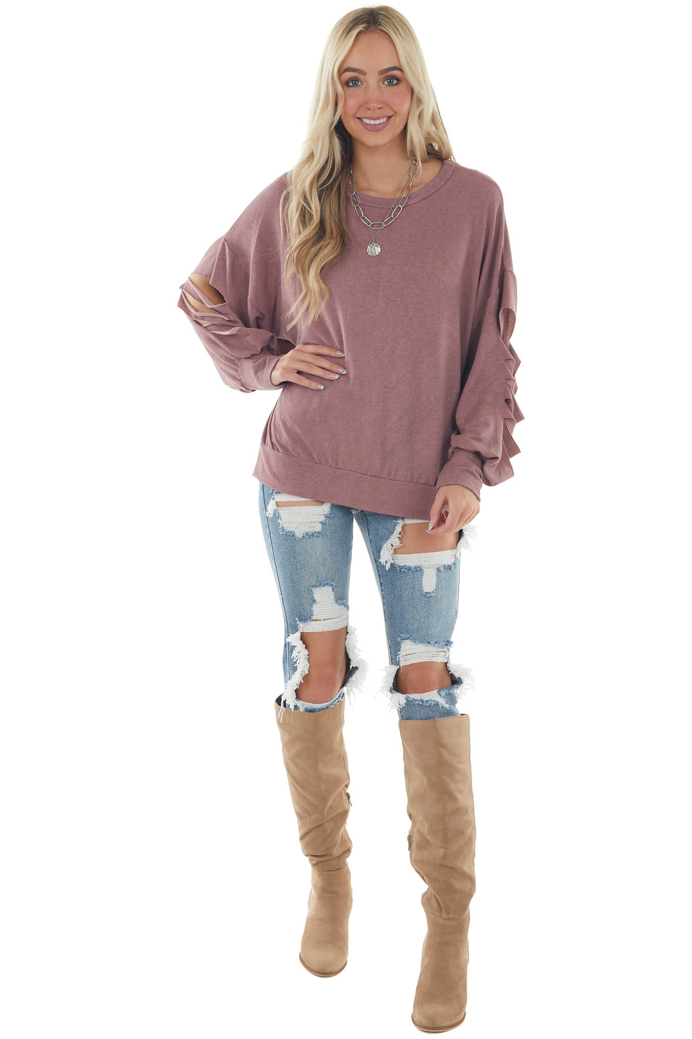 Faded Berry Slashed Sleeve Banded Knit Top