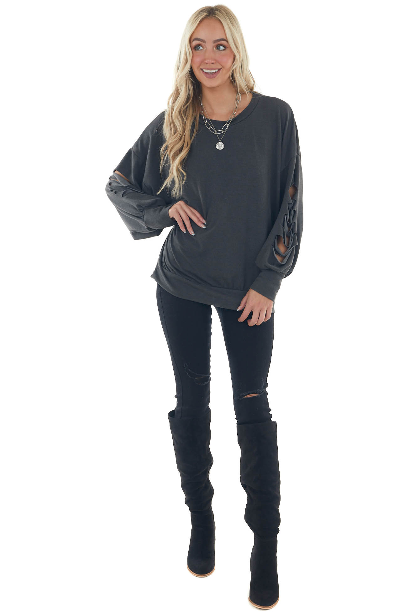 Charcoal Slashed Sleeve Banded Knit Top