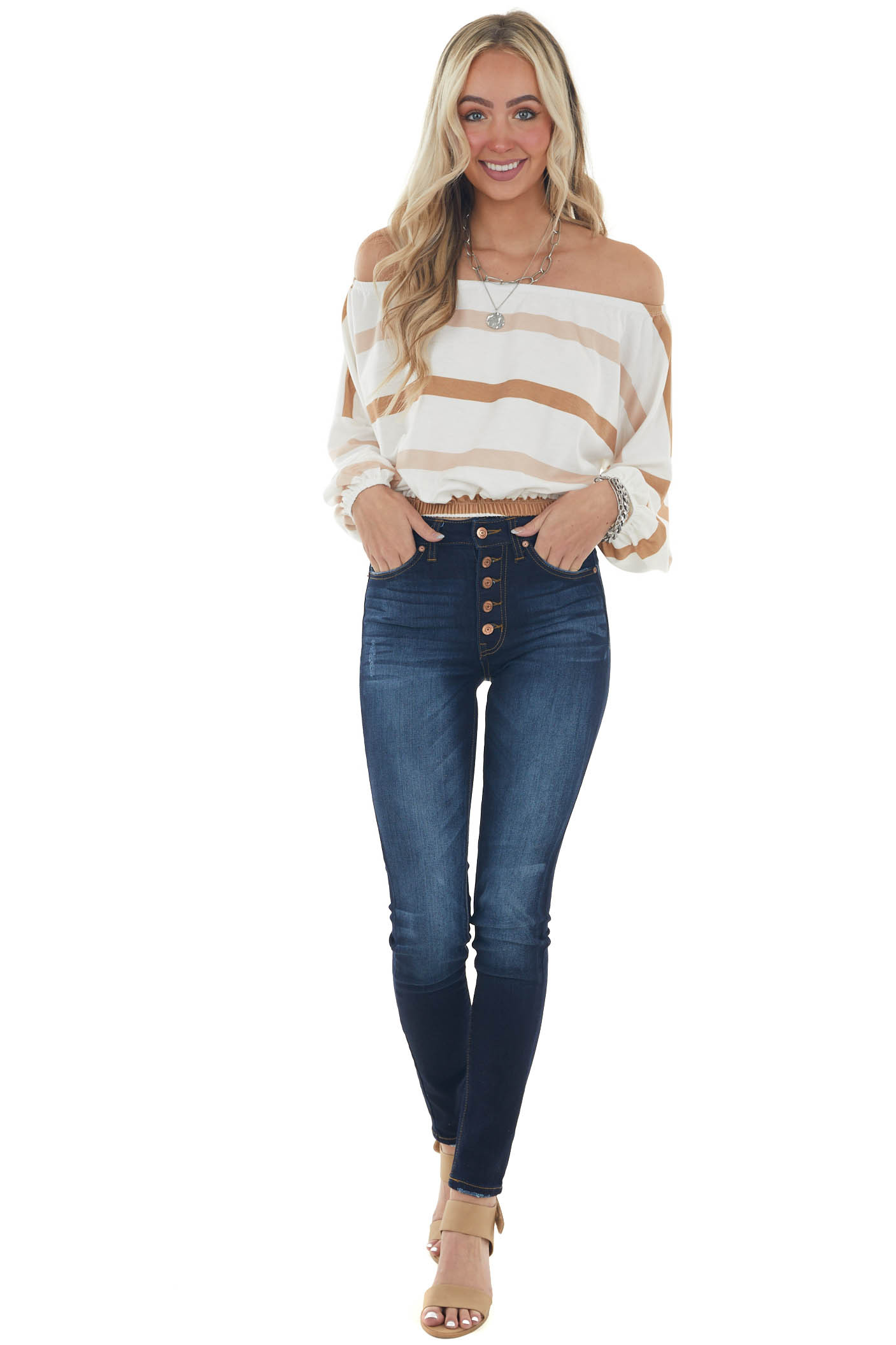 Pearl White Striped Off Shoulder Knit Crop Top