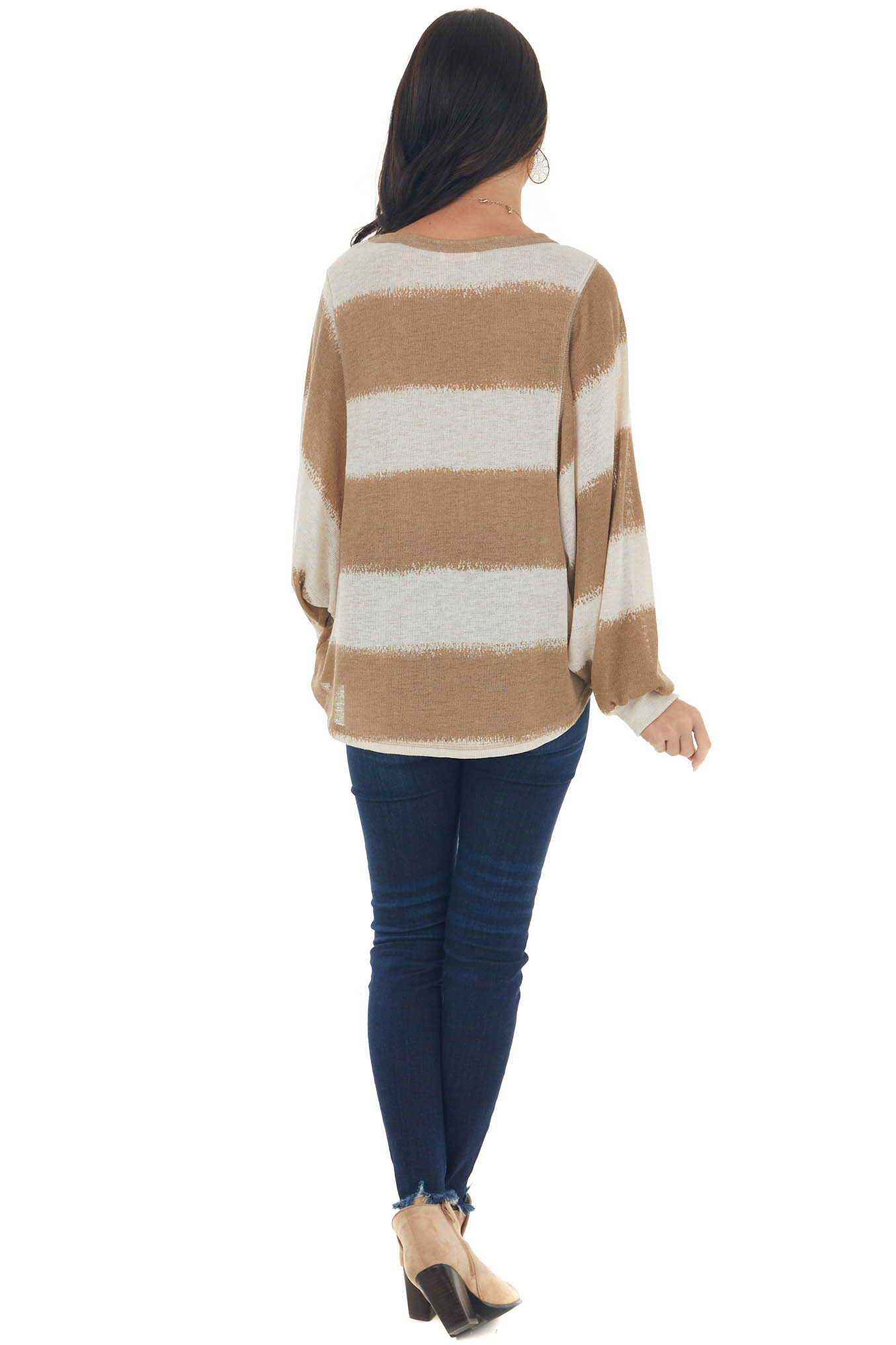 Light Sepia and Coconut Striped Knit Top